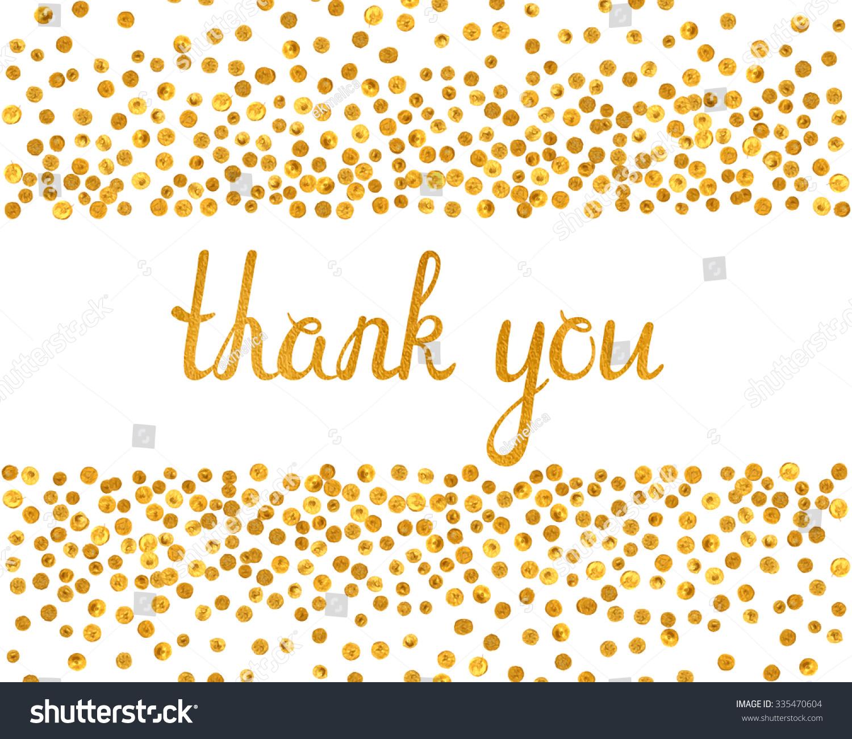 Thank You Inscription Falling Golden Dots Stock Vector