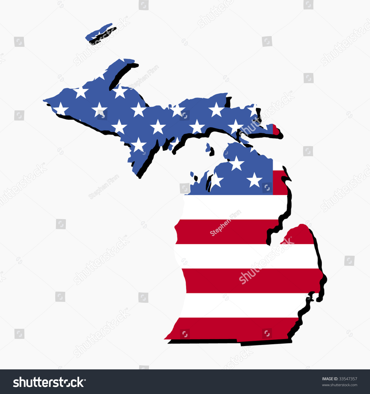 Map State Michigan American Flag Illustration Stock Vector - Michigan state usa map
