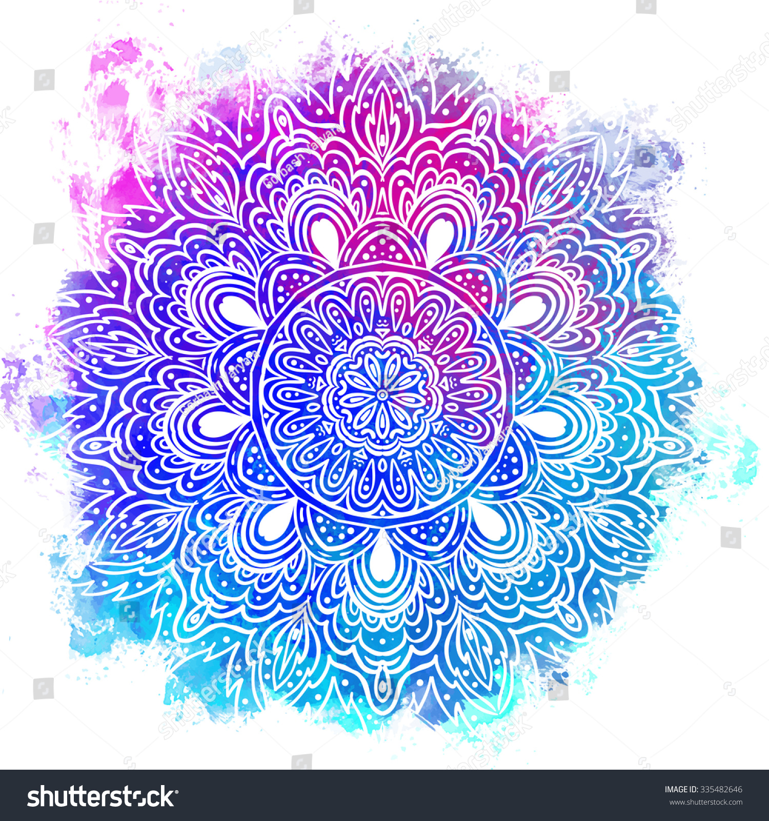 stock photo mandala over colorful watercolor beautiful vintage round pattern hand drawn abstract background 335482646 - Traditional Wedding Logo