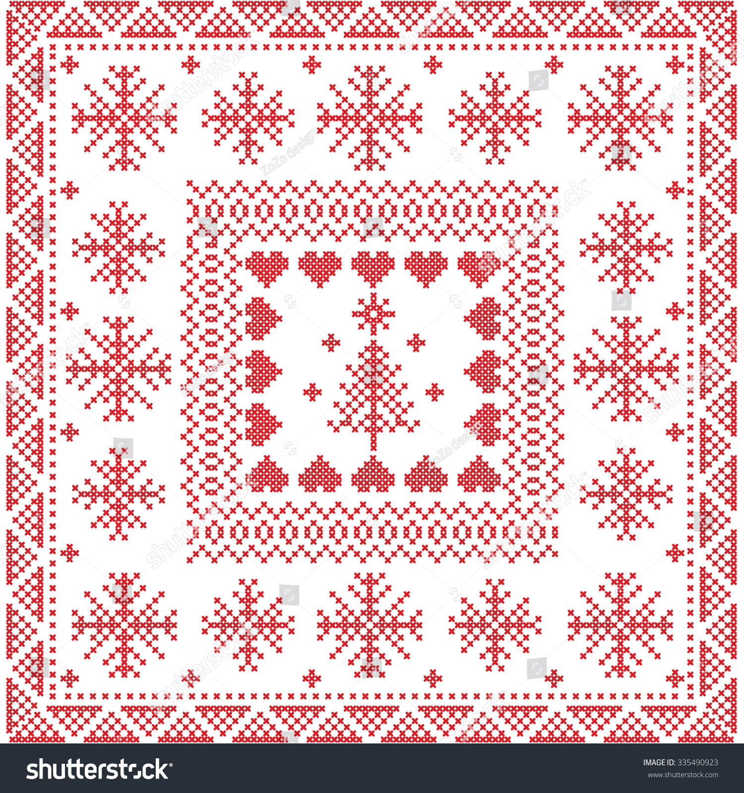 style nordic winter stitch knitting seamless pattern in the square tile shape including