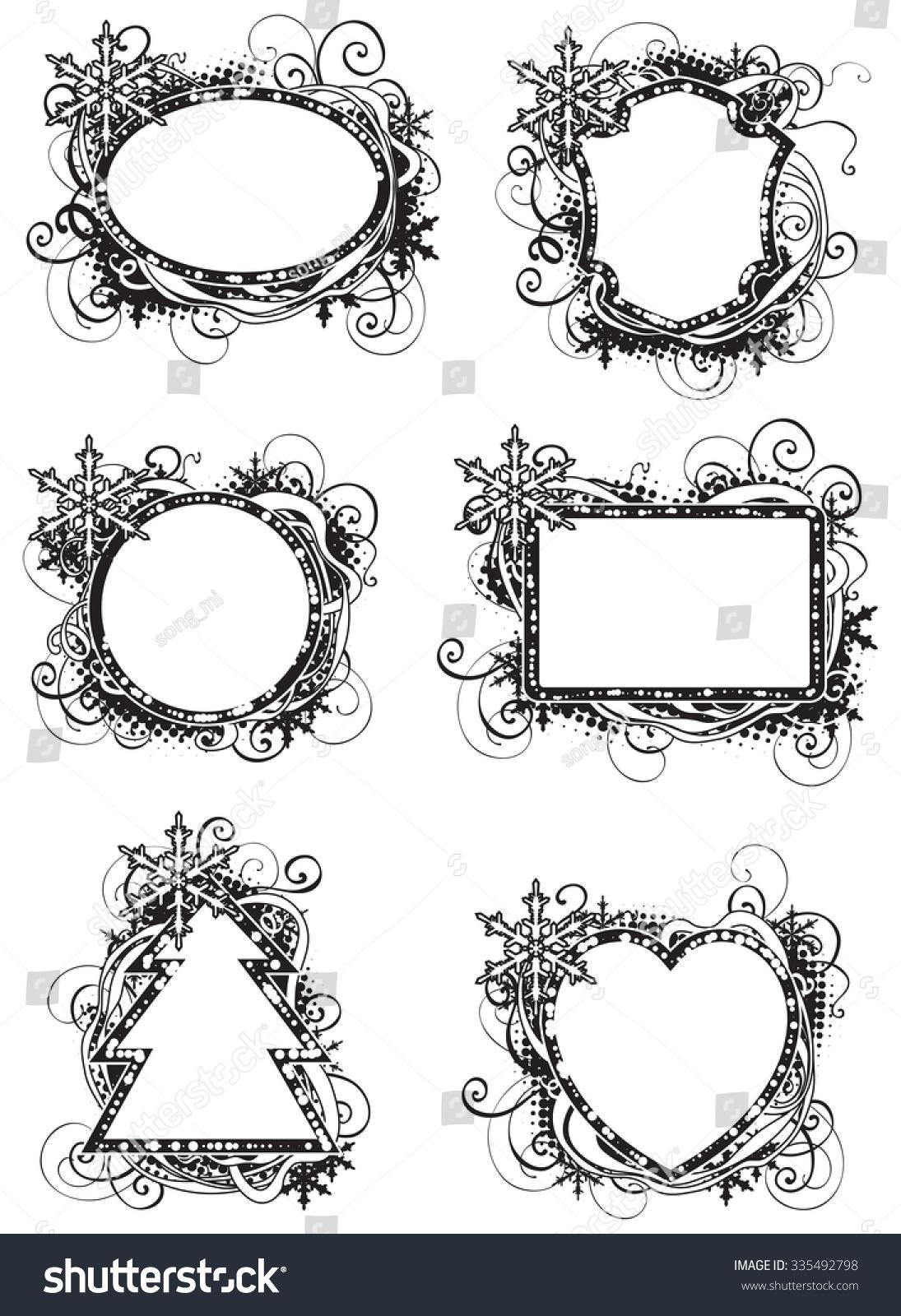 Holidays Black White Frames Set Vector Stock Vector (Royalty Free ...