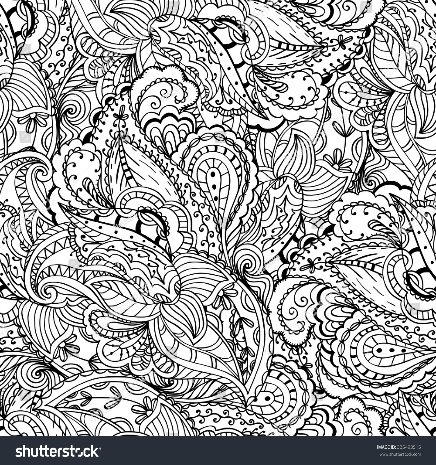 fantasy paisley pattern seamless background coloring stock vector