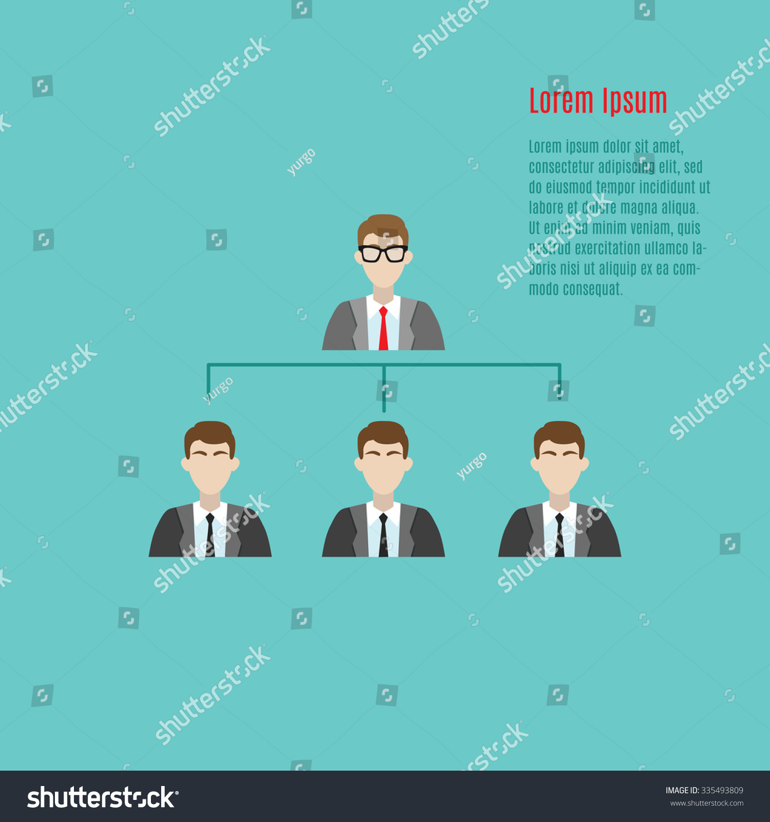 Character Design Career Path : Vector modern illustration business team hierarchy stock