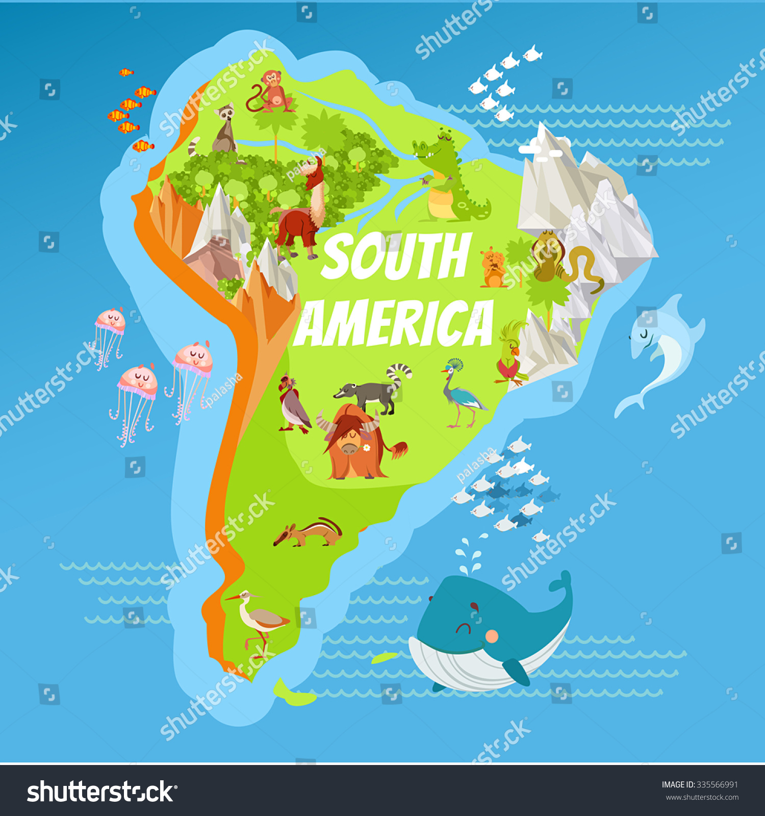 Cartoon Map South America Continent Riversmountains Stock Vector - Argentina map mountains