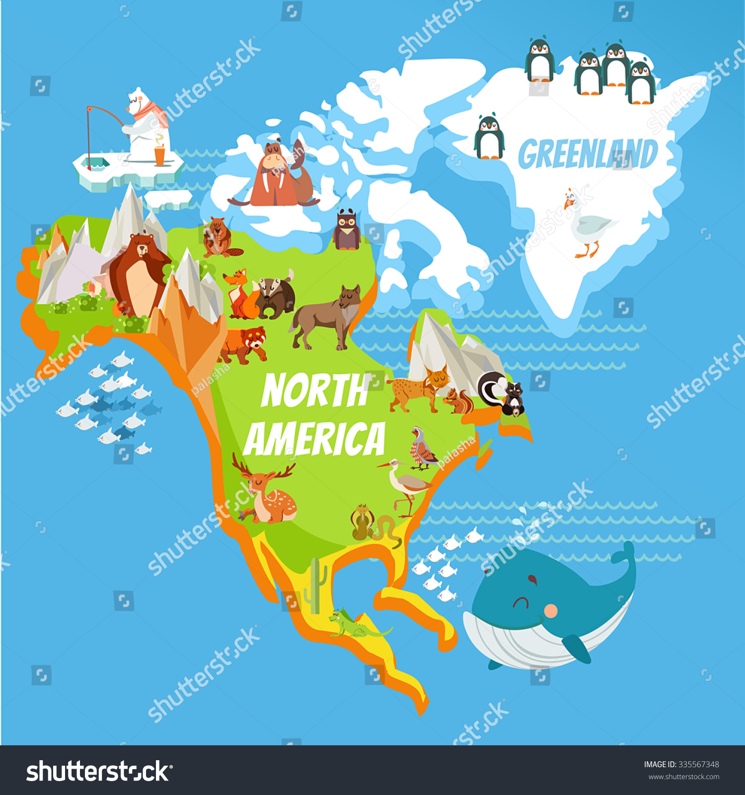 Cartoon Map North America Continent Riversmountains Stock ...