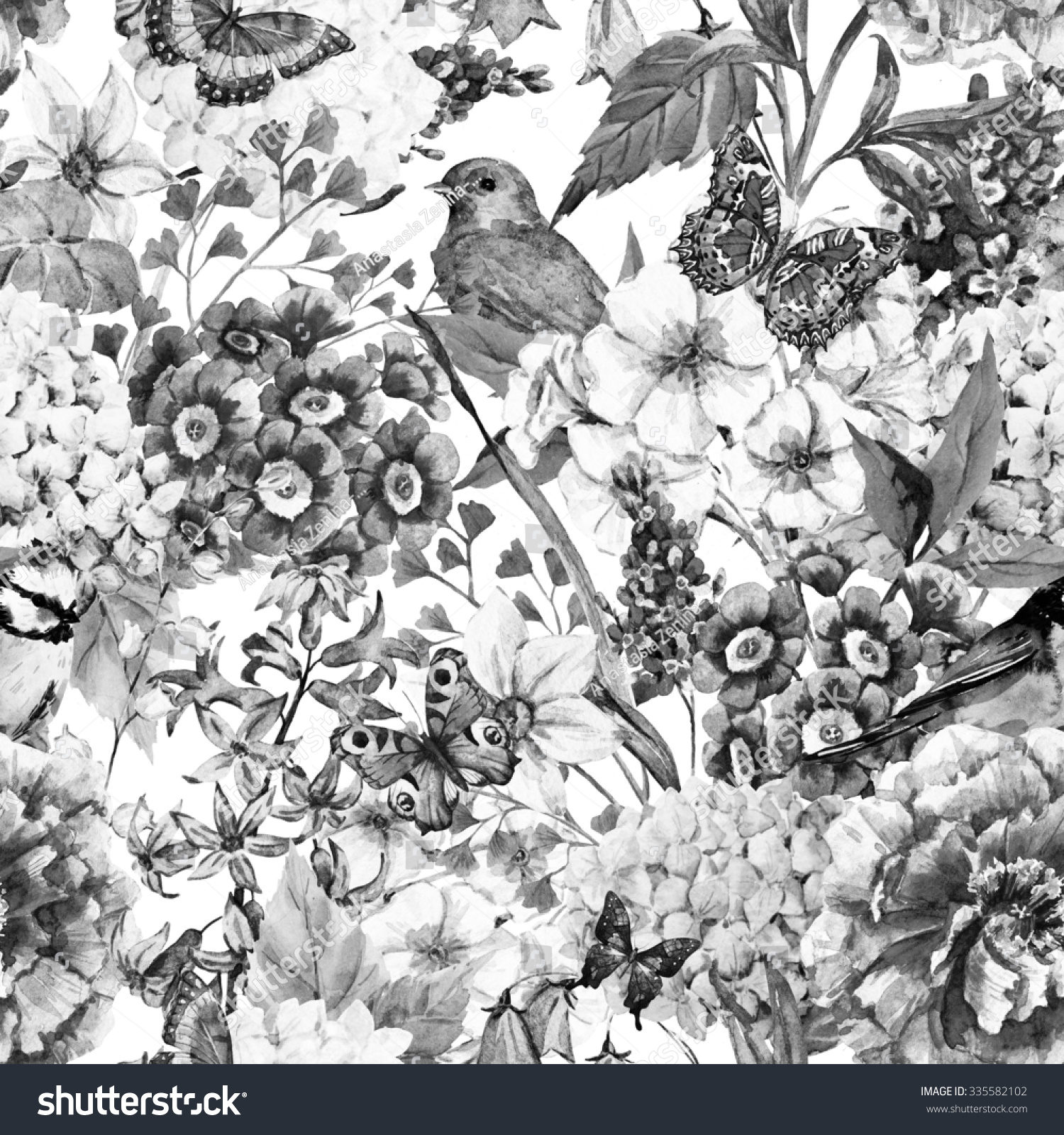 watercolor floral vintage pattern flowers birds stock illustration