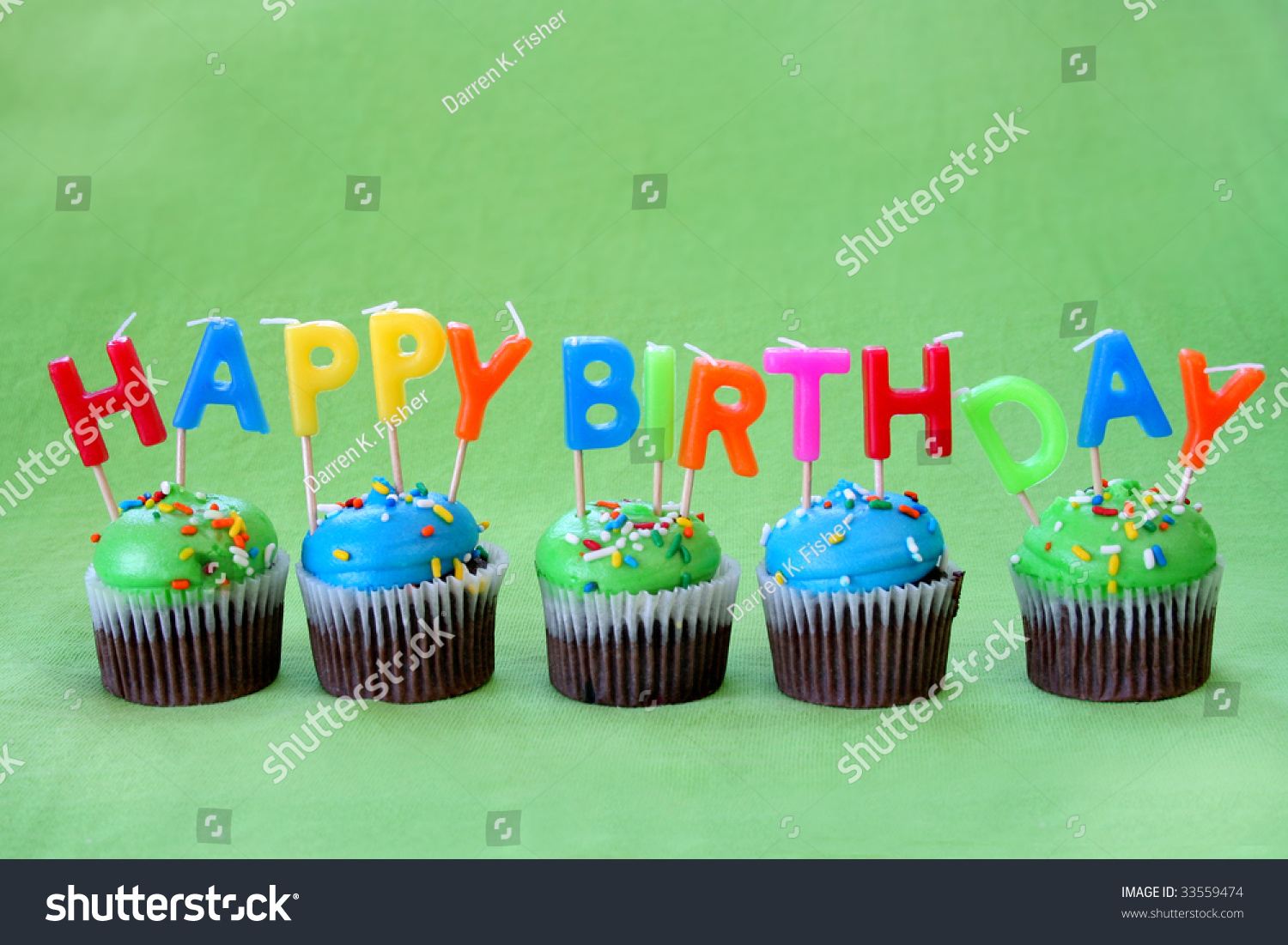Chocolate Cupcakes Blue Green Icing Along Stock Photo 33559474 ...