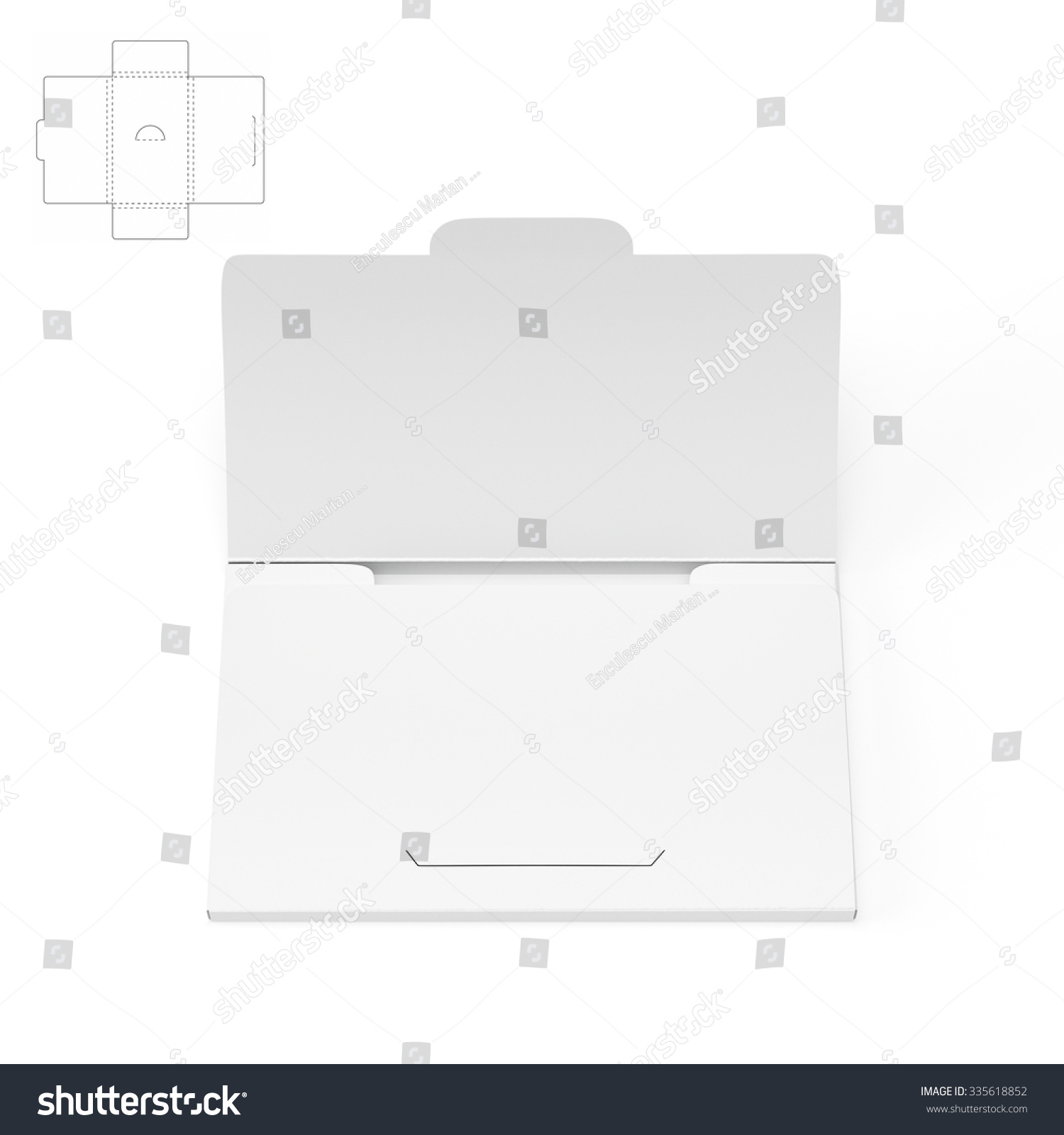 slim business card box cut stock illustration