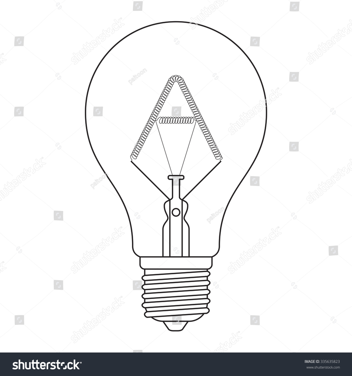 Letter A Alphabet Incandescent Light Bulb Stock Vector Royalty Free Diagram Of The How Flourescent In Set Outline Style Black And White