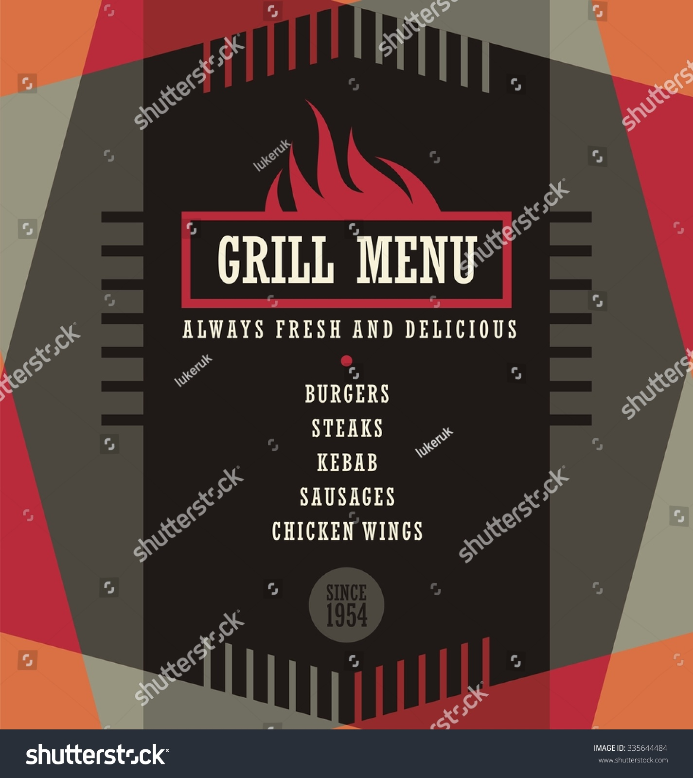 Grill Menu Design Template Creative Flyer Stock Vector Royalty Free 335644484