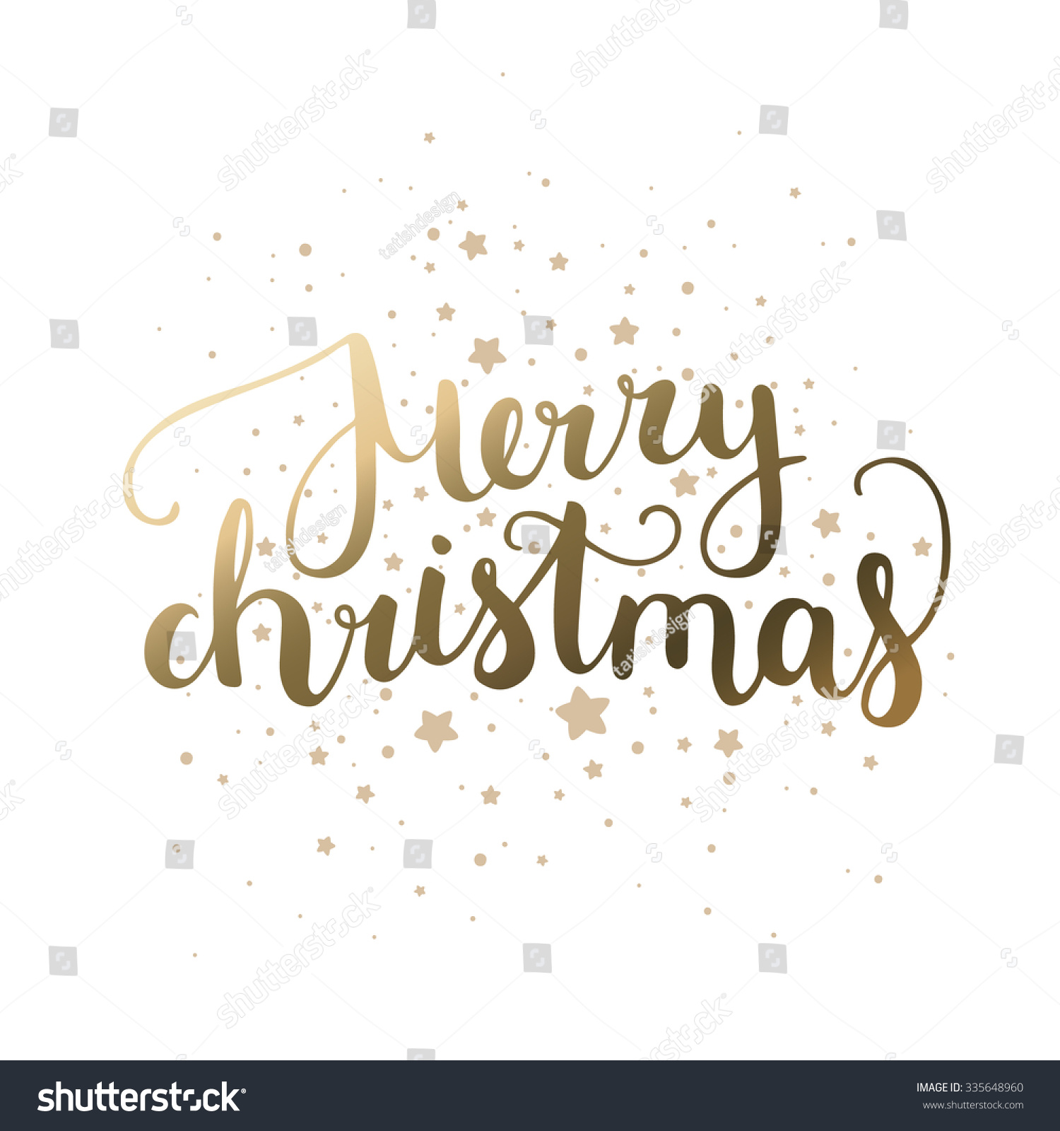 Merry Christmas Card Hand Drawn Lettering Stock Vector (Royalty Free ...