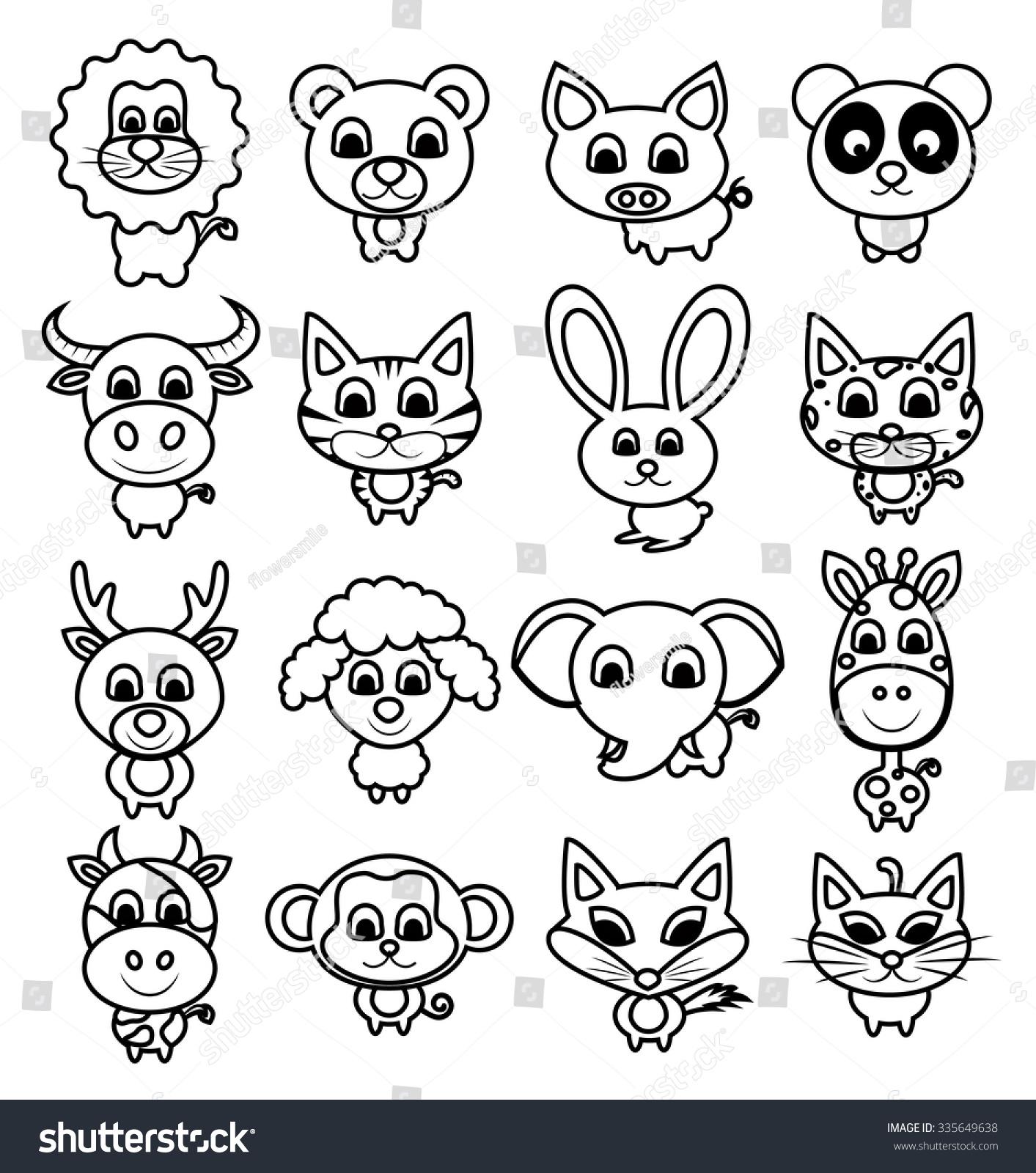 Cute Animal Set Vector Illustration