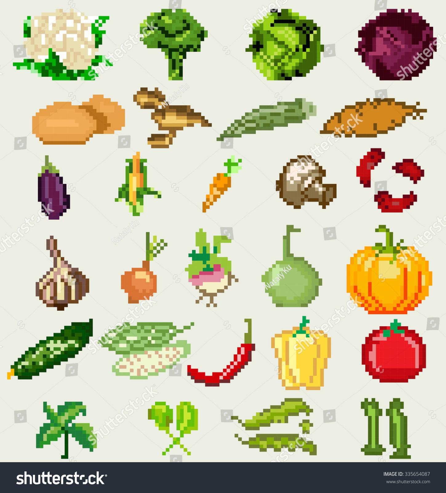 Set Pixel Art Vegetables Vector Game Stock Vector 335654087 ...