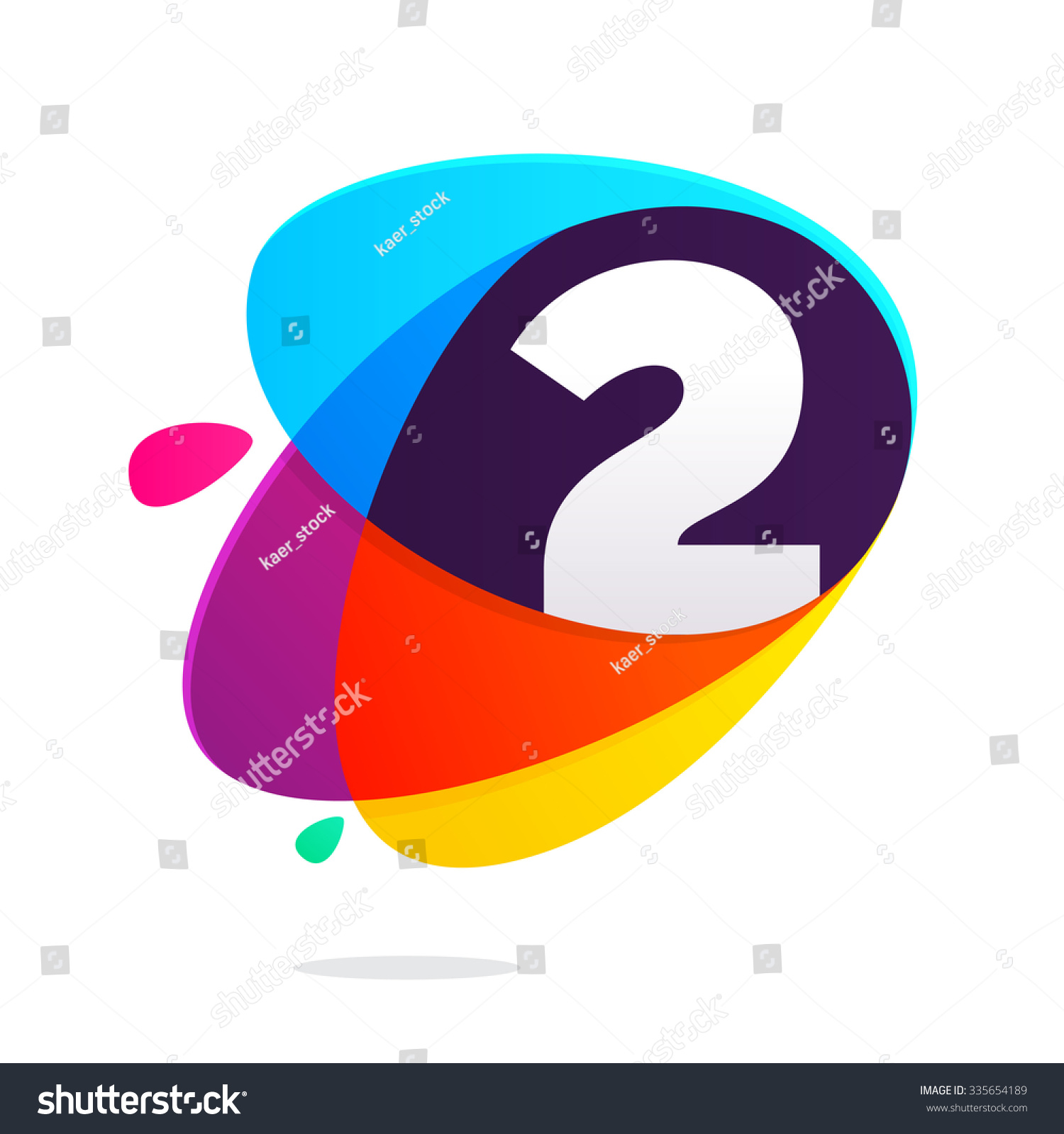 Number two ellipses intersection vector design stock vector number two with ellipses intersection vector design template elements for your application or corporate identity buycottarizona Images