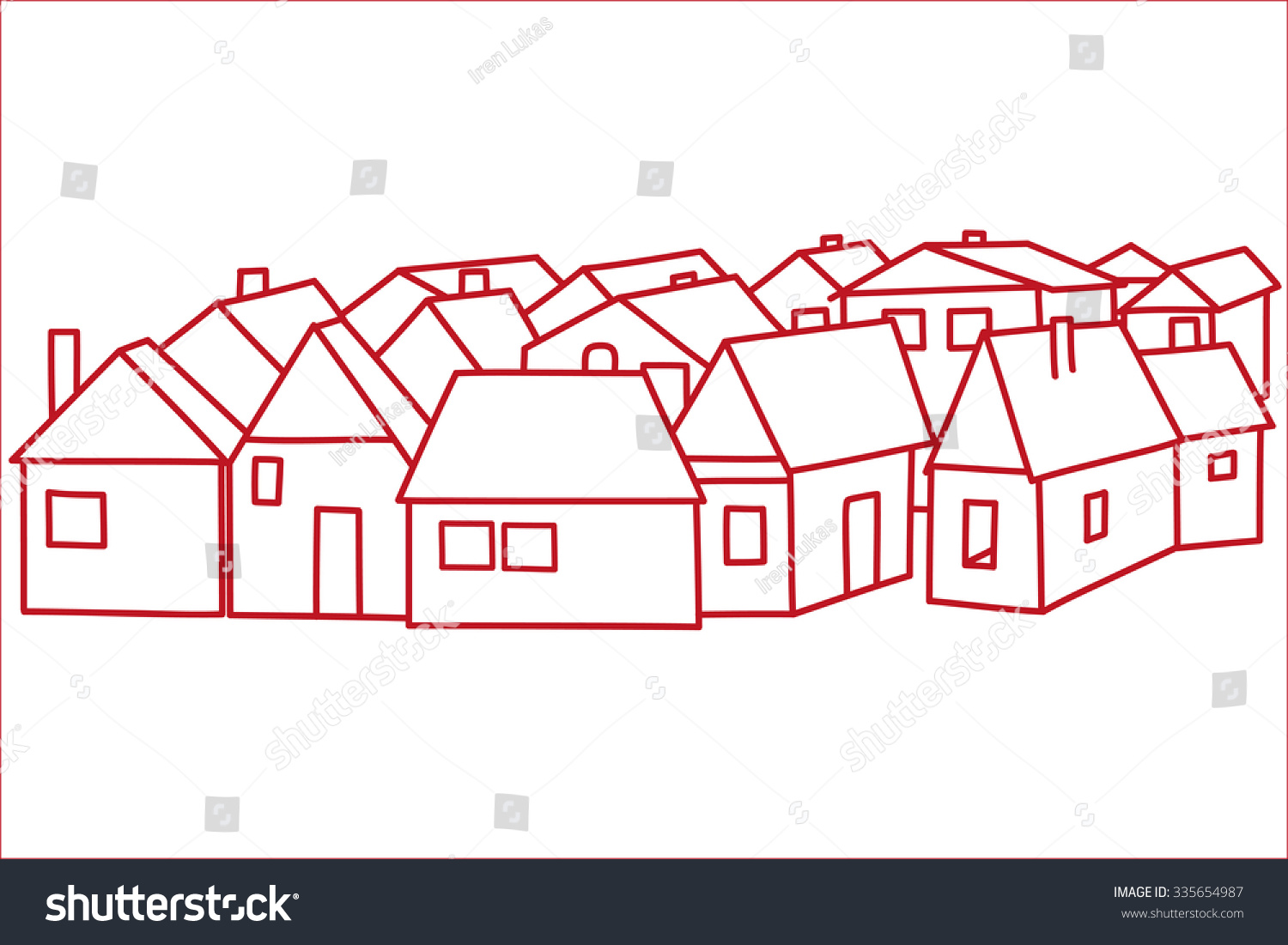 Group Houses Red Outline Vector Illustration Stock Vector (Royalty ...