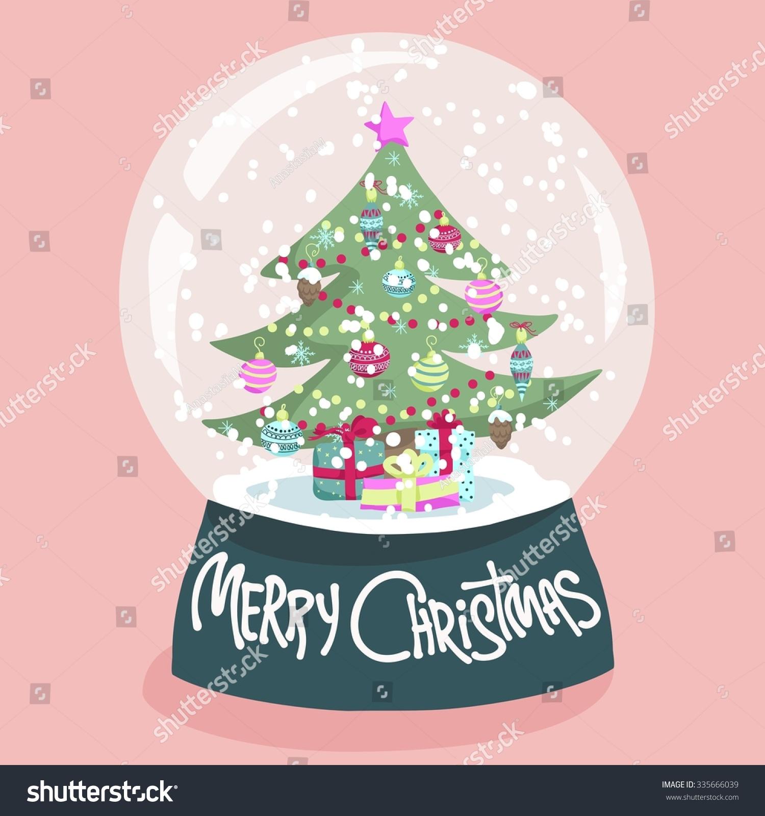 Colorful Christmas Poster Cute Cartoon Snow Stock Illustration ...