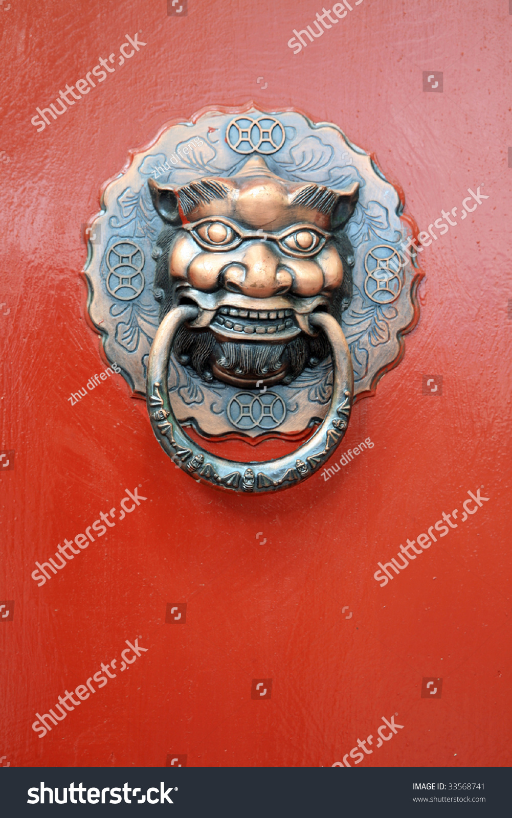 Chinese Vintage Lion On Red Door Ez Canvas