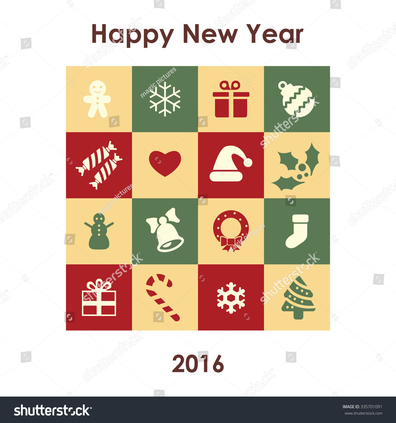 Universal New Year Greeting Card Happy Stock Vector 335701091