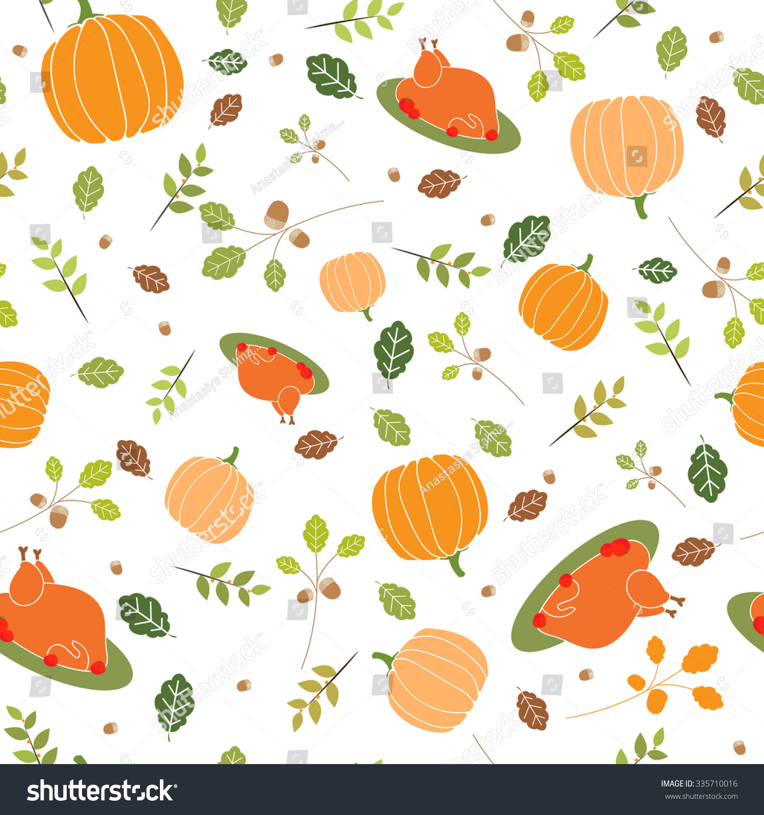 Thanksgiving Pattern. Background With Turkey And Pumpkin ...
