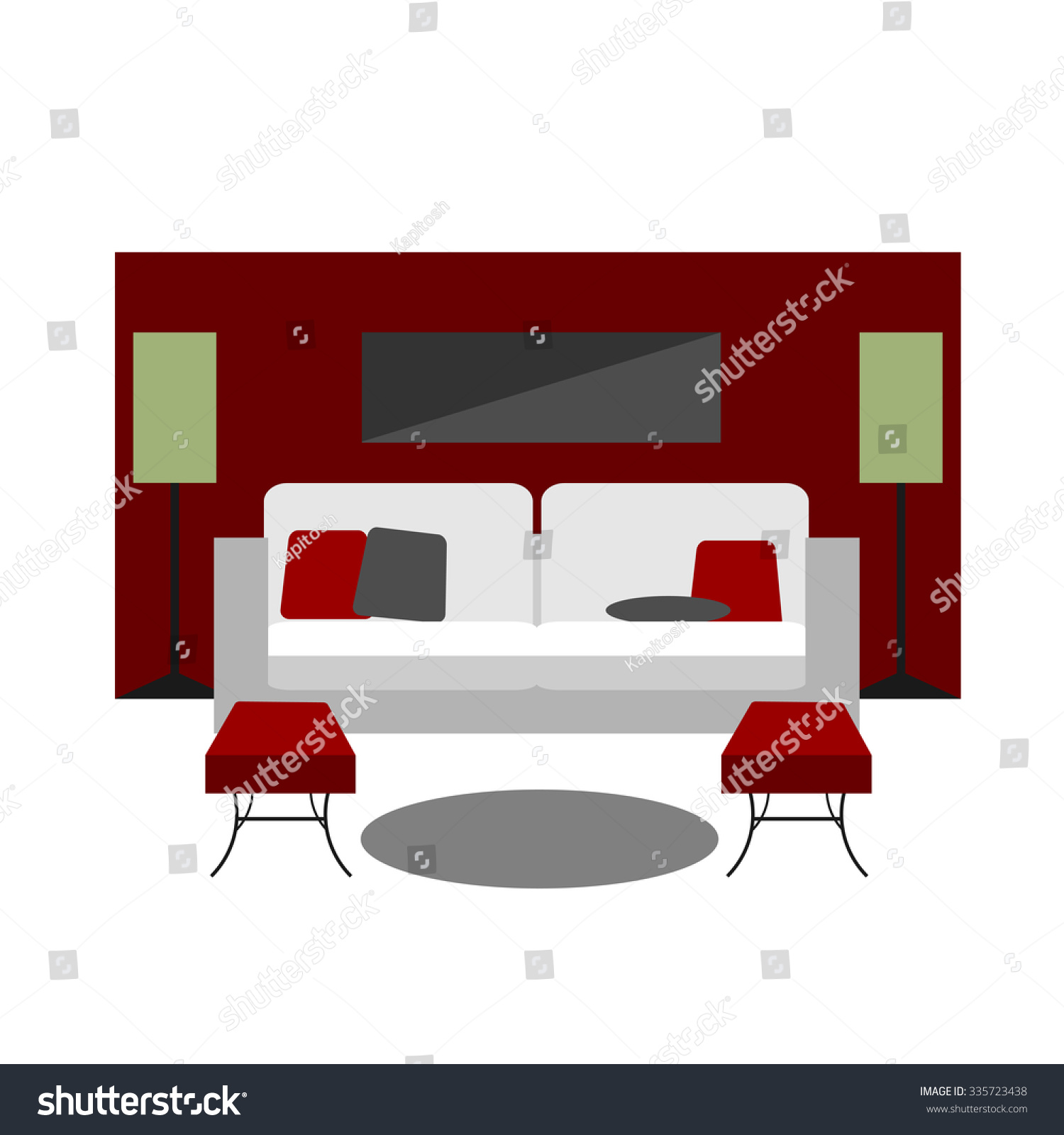 Color Furniture Living Room Flat Icons Stock Vector 335723438 ...