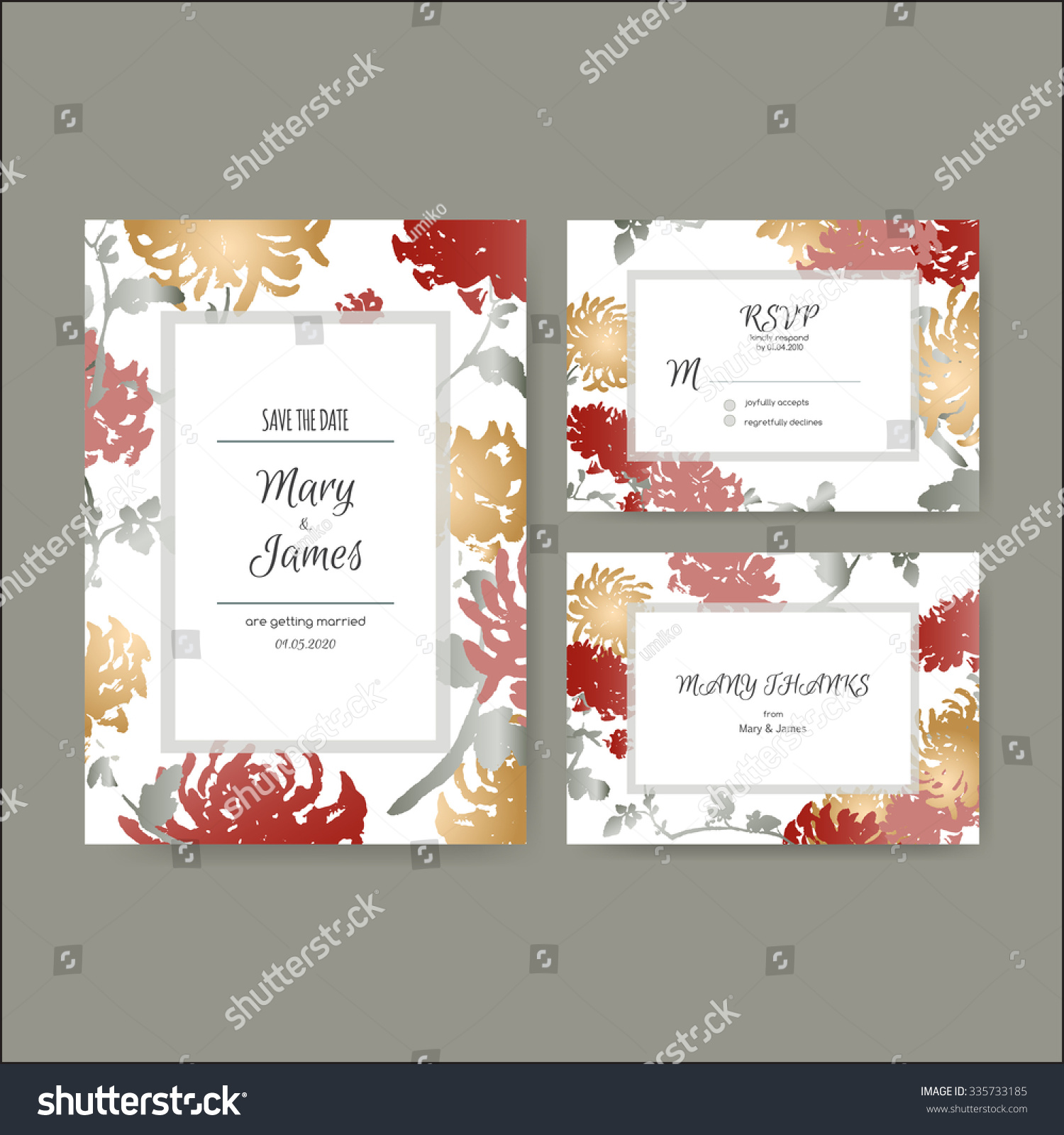 Original Attractive Wedding Cards Based On Stock Vector 335733185 ...