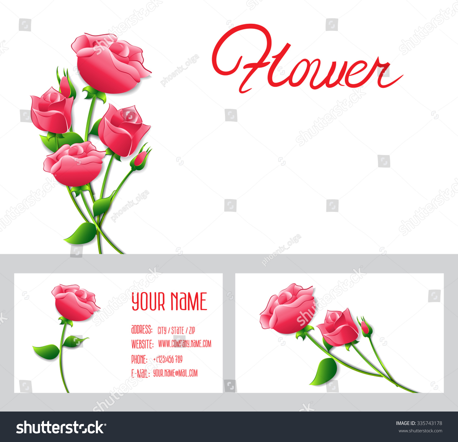 Templates Roses Paper Flowers Abstract Decoration Stock Illustration