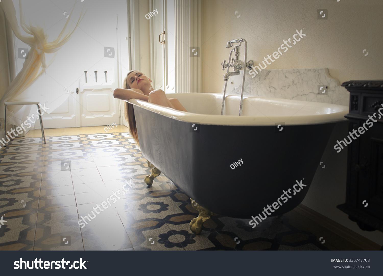 Sensual Woman Relaxing Bath Tube Stock Photo (Royalty Free ...