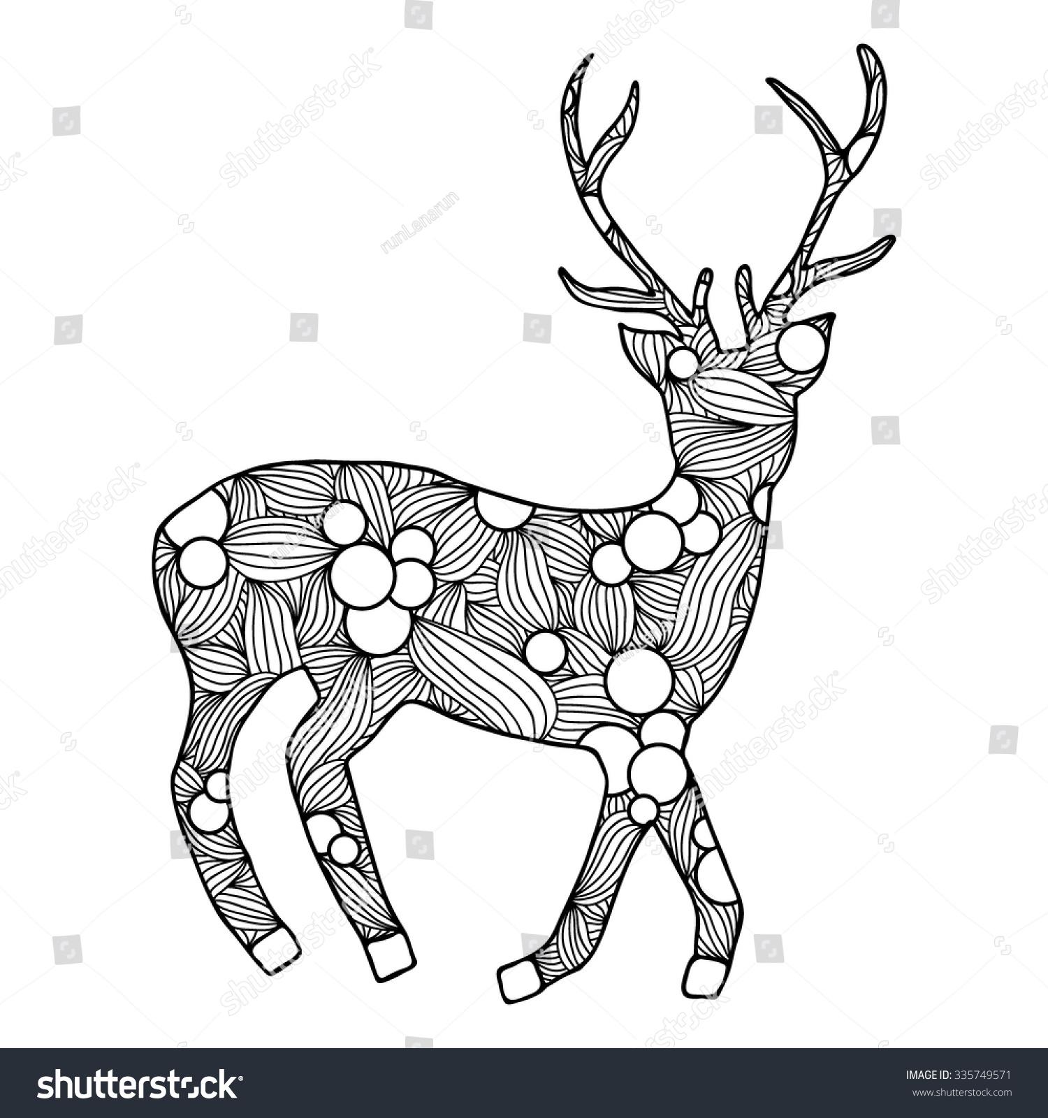Deer Hand Drawn Anti Stress Stock Vector 335749571