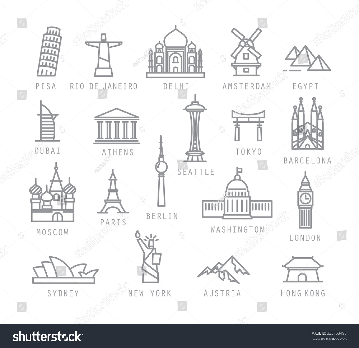 City Icons Flat Style Names Pisa Stock Vector 335753495