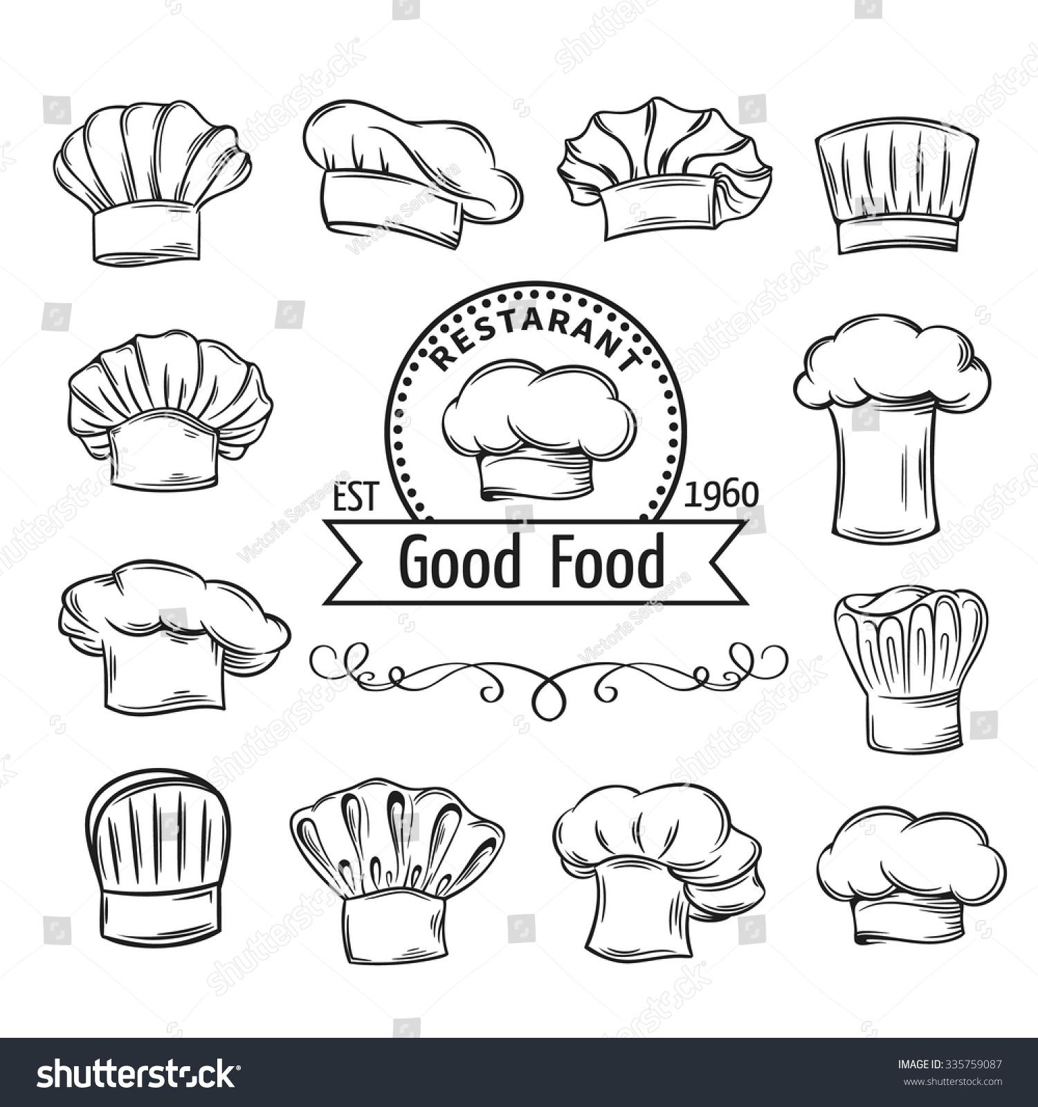 decorative chef toques hats set restaurant stock vector