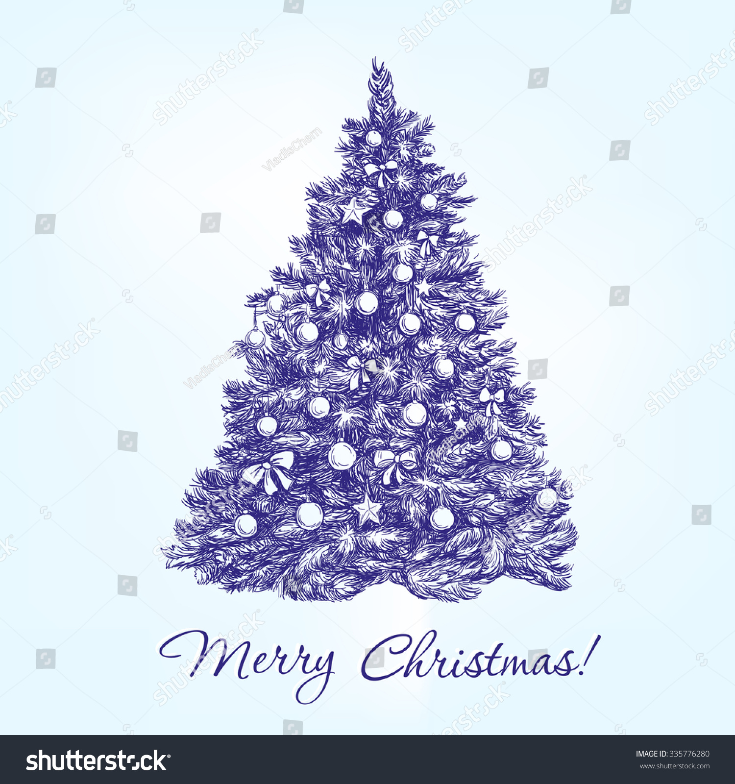 Uncategorized Drawn Christmas Trees christmas tree balls hand drawn vector stock 335776280 with llustration realistic sketch