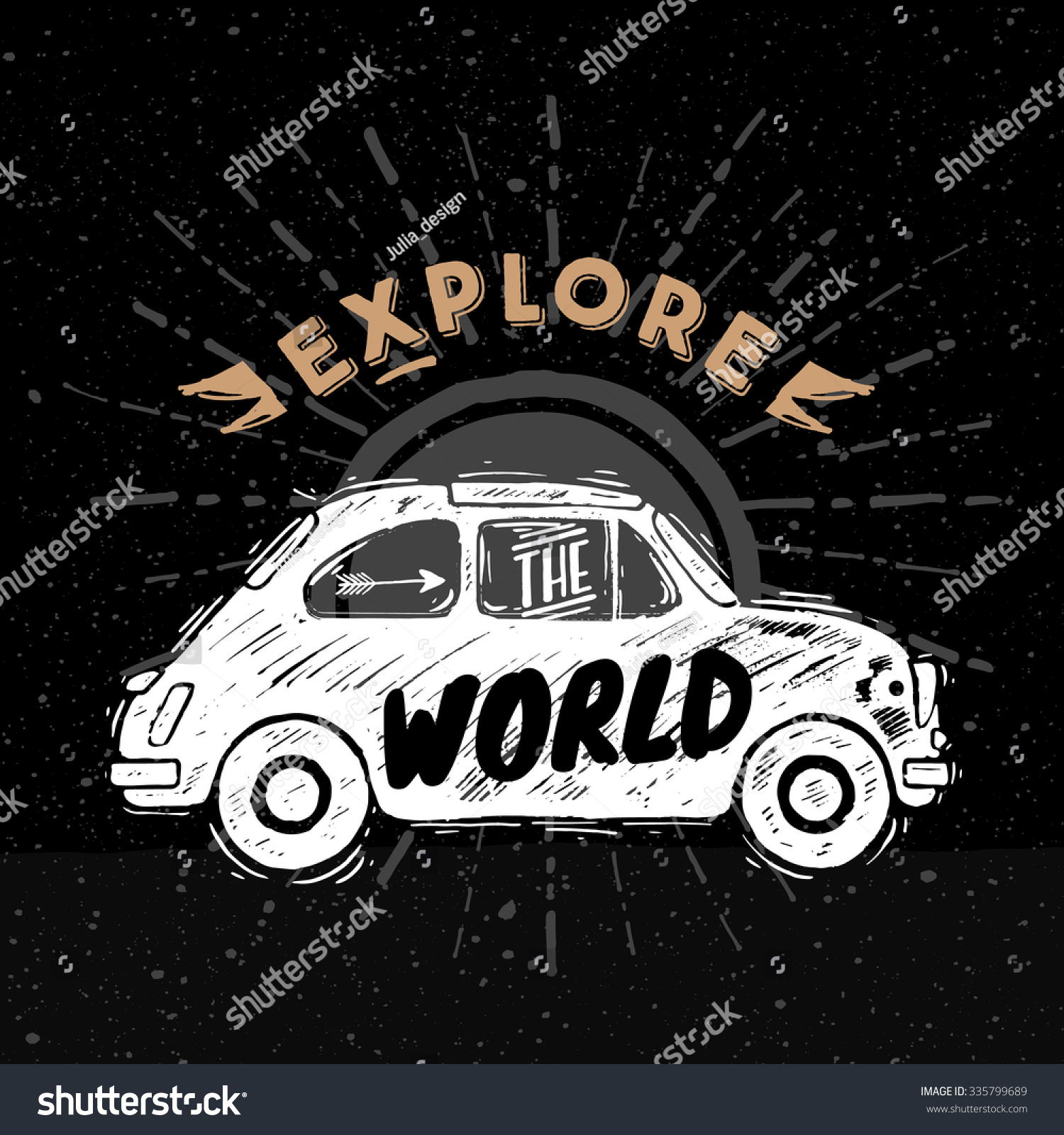 Sketched Old Car Explore World Lettering Stock Vector 335799689 ...