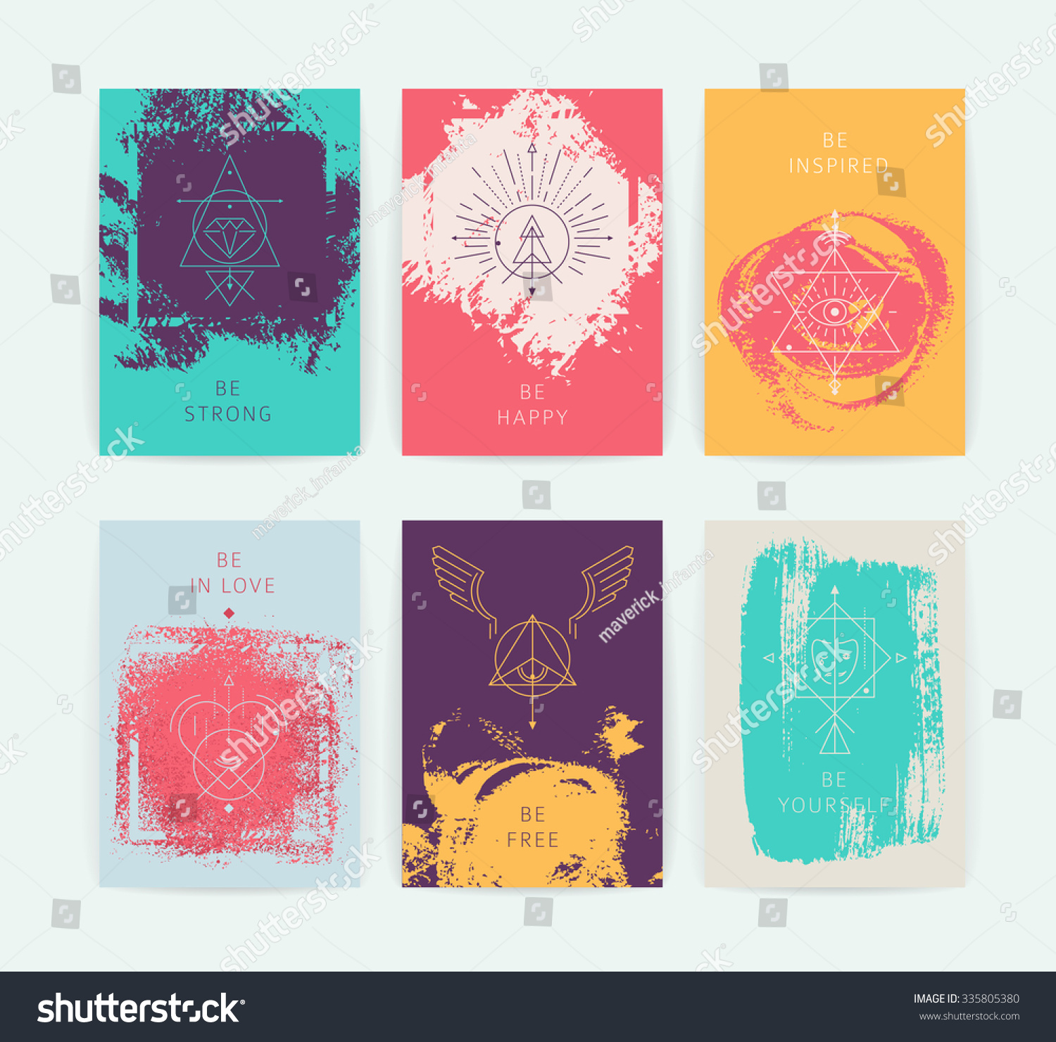 Set Vector Geometric Alchemy Symbols Inspired Stock Vector