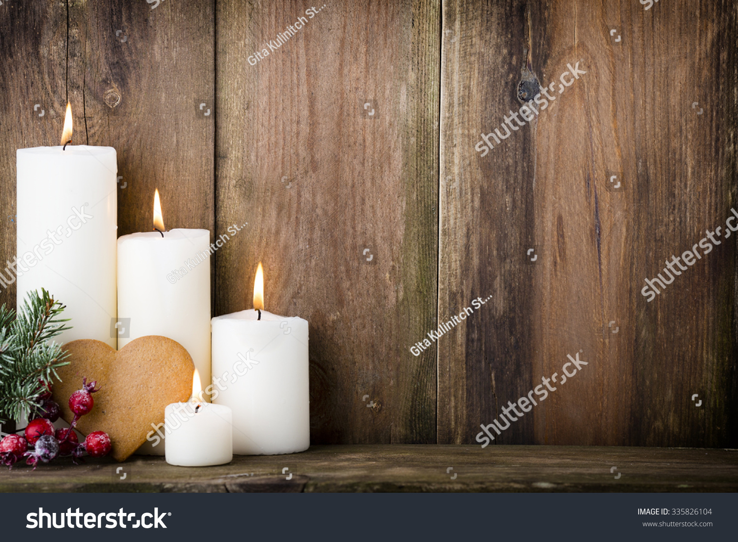 Christmas candles and lights christmas background stock for Large outdoor christmas candles