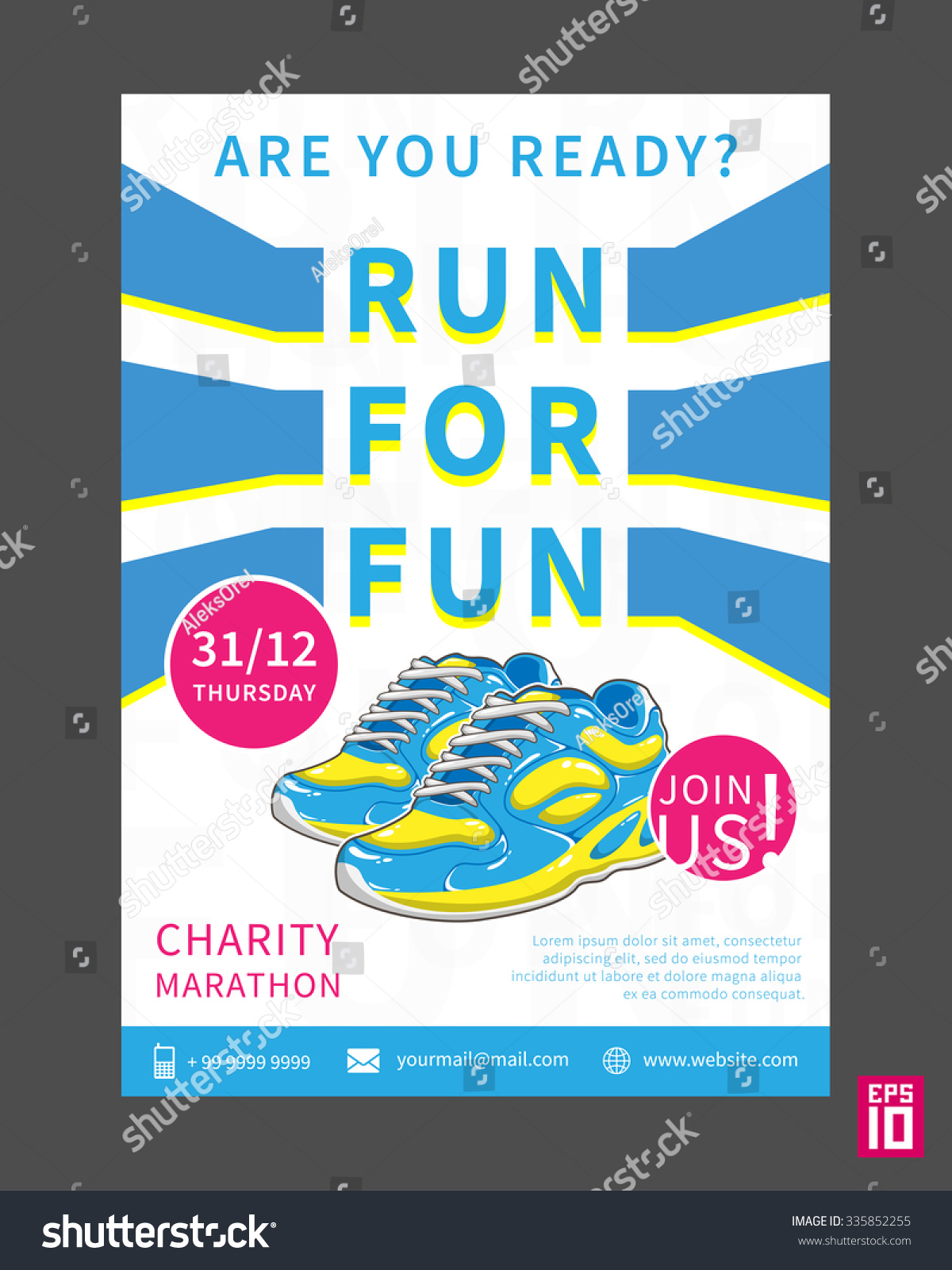 vector charity marathon flyer template slogan stock vector vector charity marathon flyer template slogan run for fun business illustration