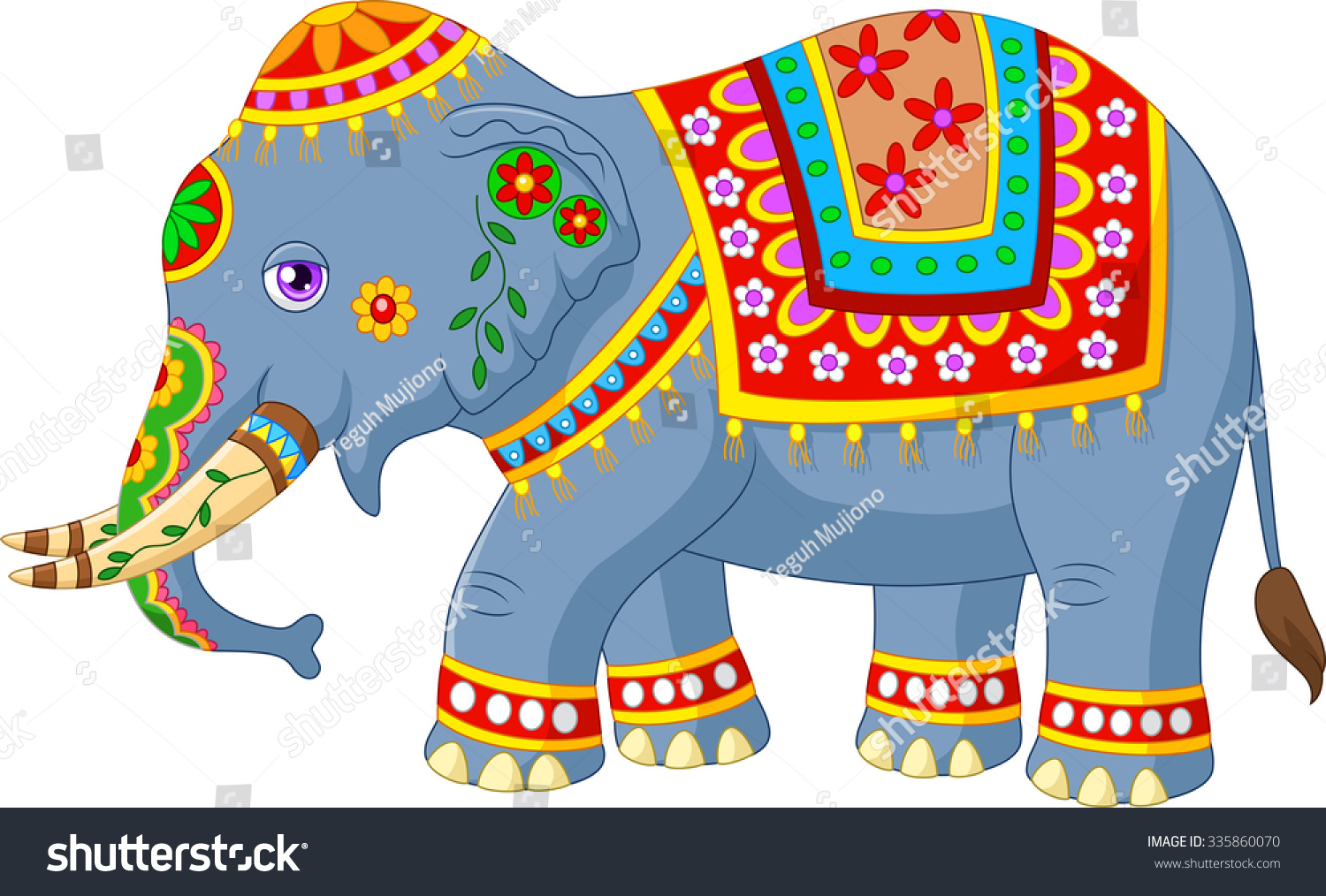 cartoon elephant indian classic traditional costume stock vector 335860070 shutterstock. Black Bedroom Furniture Sets. Home Design Ideas