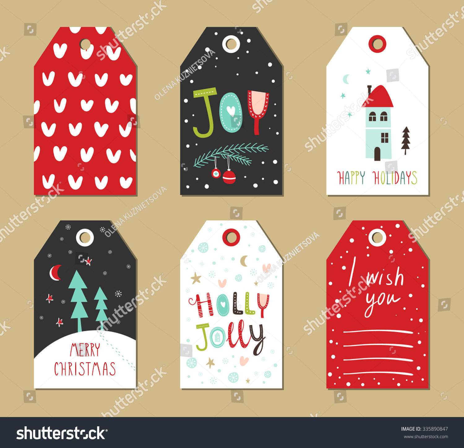 Christmas Gift Tags Set Vector Illustration Stock Vector