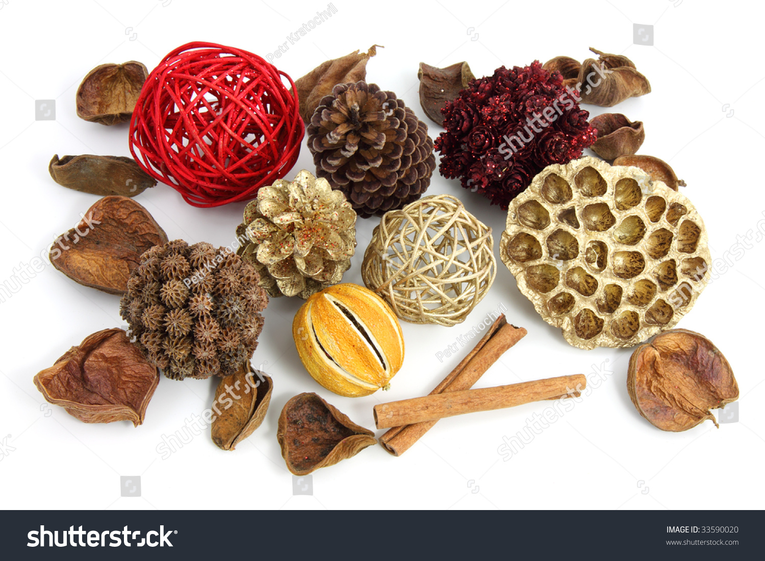 christmas pot pourri decoration on white background stock photo 33590020 shutterstock. Black Bedroom Furniture Sets. Home Design Ideas