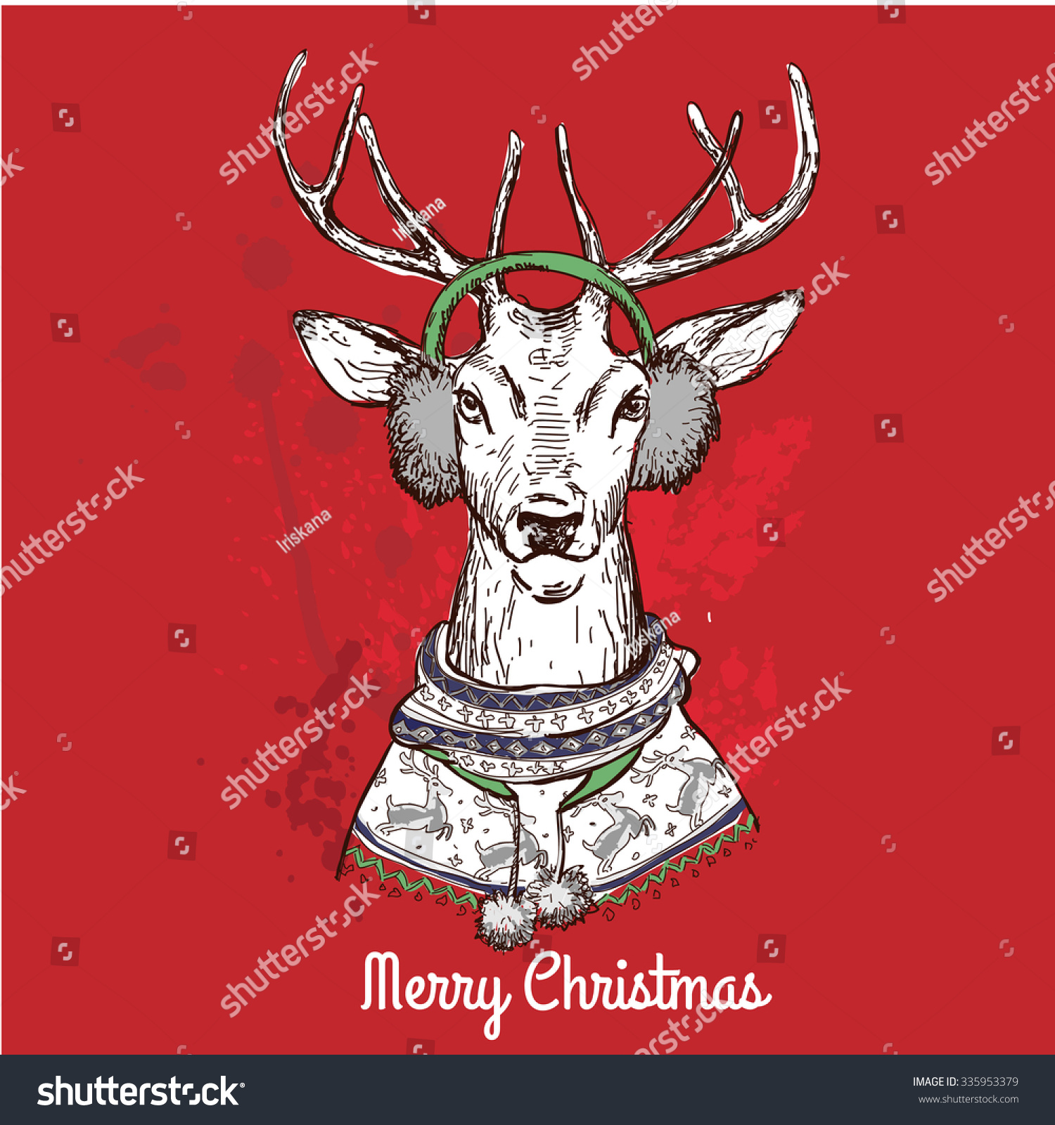Fox with a hat new year or christmas animal isolated on white - Holiday Vector Of Black Ink Hand Drawn Comic Animal Sketch Of Funny Christmas Deer Head And