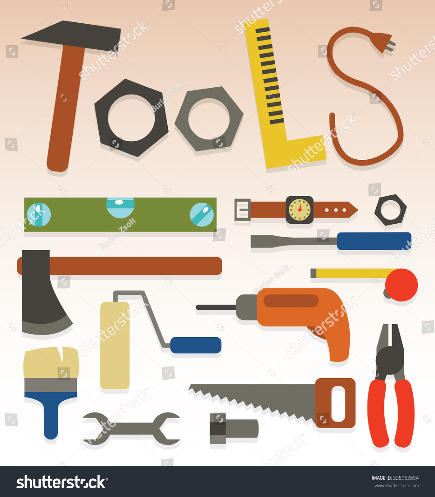 Poster design tools - Decorative Letters Forming Word Tools With Craftsman Tools In Flat Design Style Vector Poster