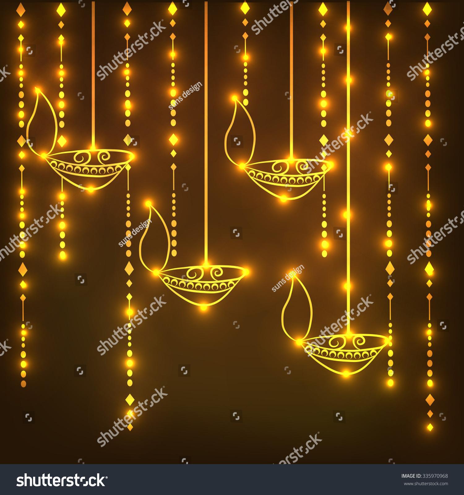 Illustration Of Beautiful Decorated Diwali Diya Background With Hanging