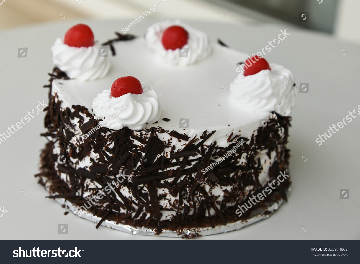 Black Forest Cake Decorated Whipped Cream Stock Photo Edit Now