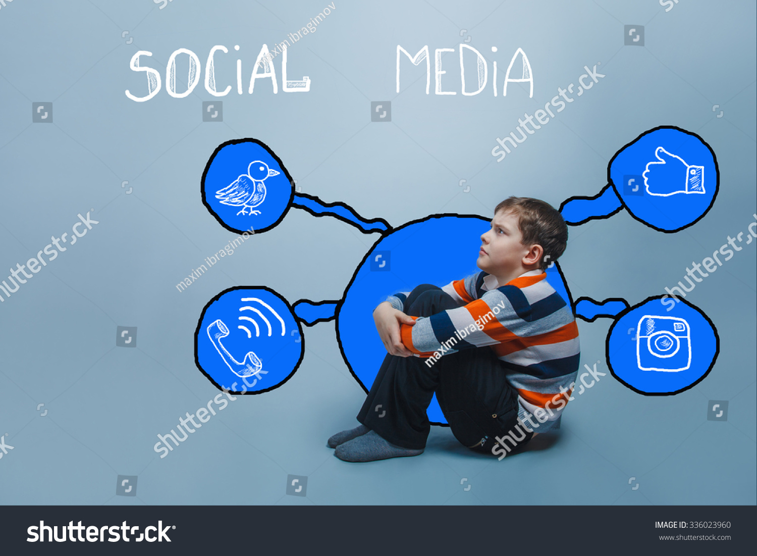 Boy frowning sitting on the floor looking up thinking social media infographics sketch internet