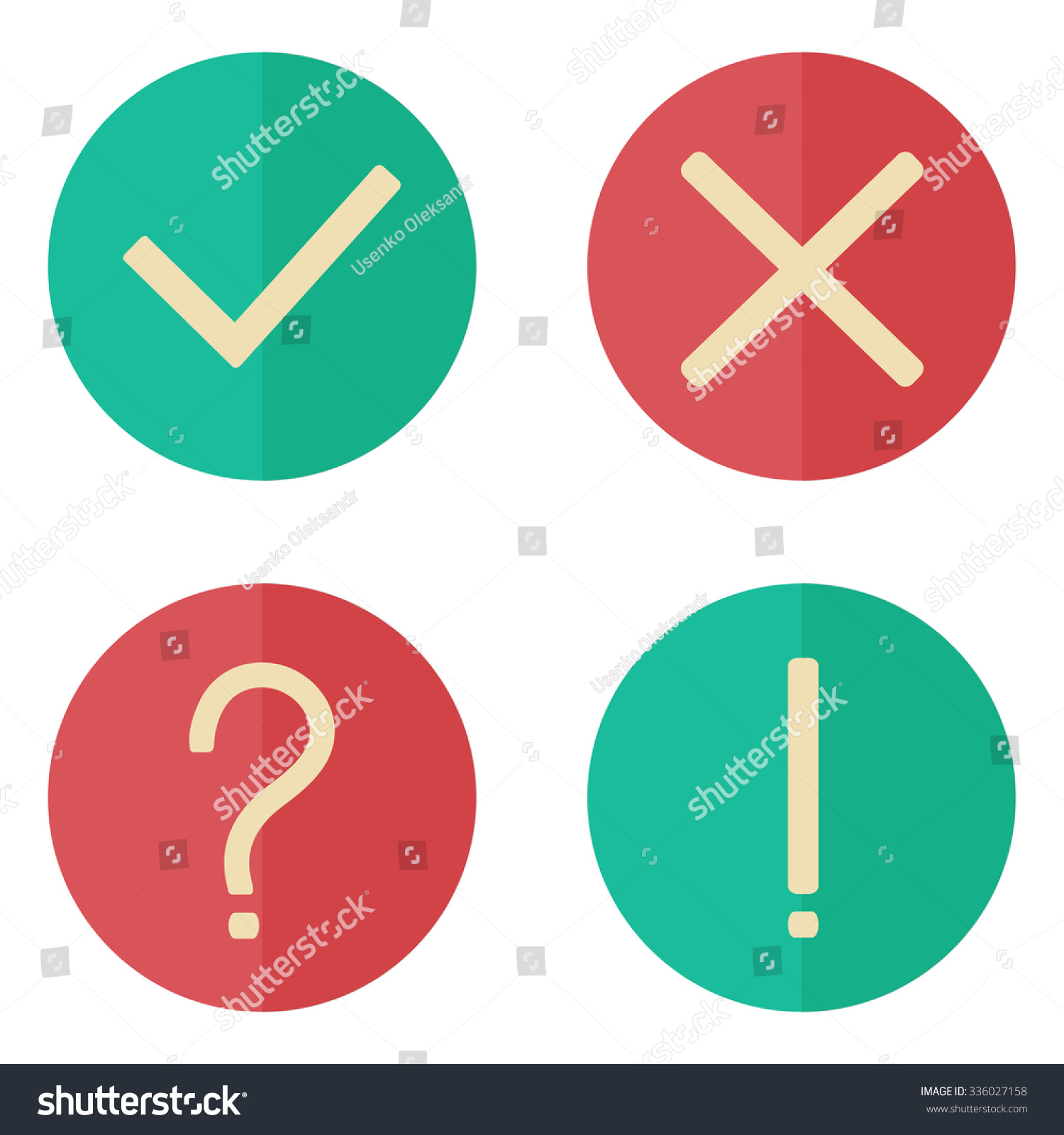 Yes No Exclamation Question Marks Flat Stock Vector Royalty Free