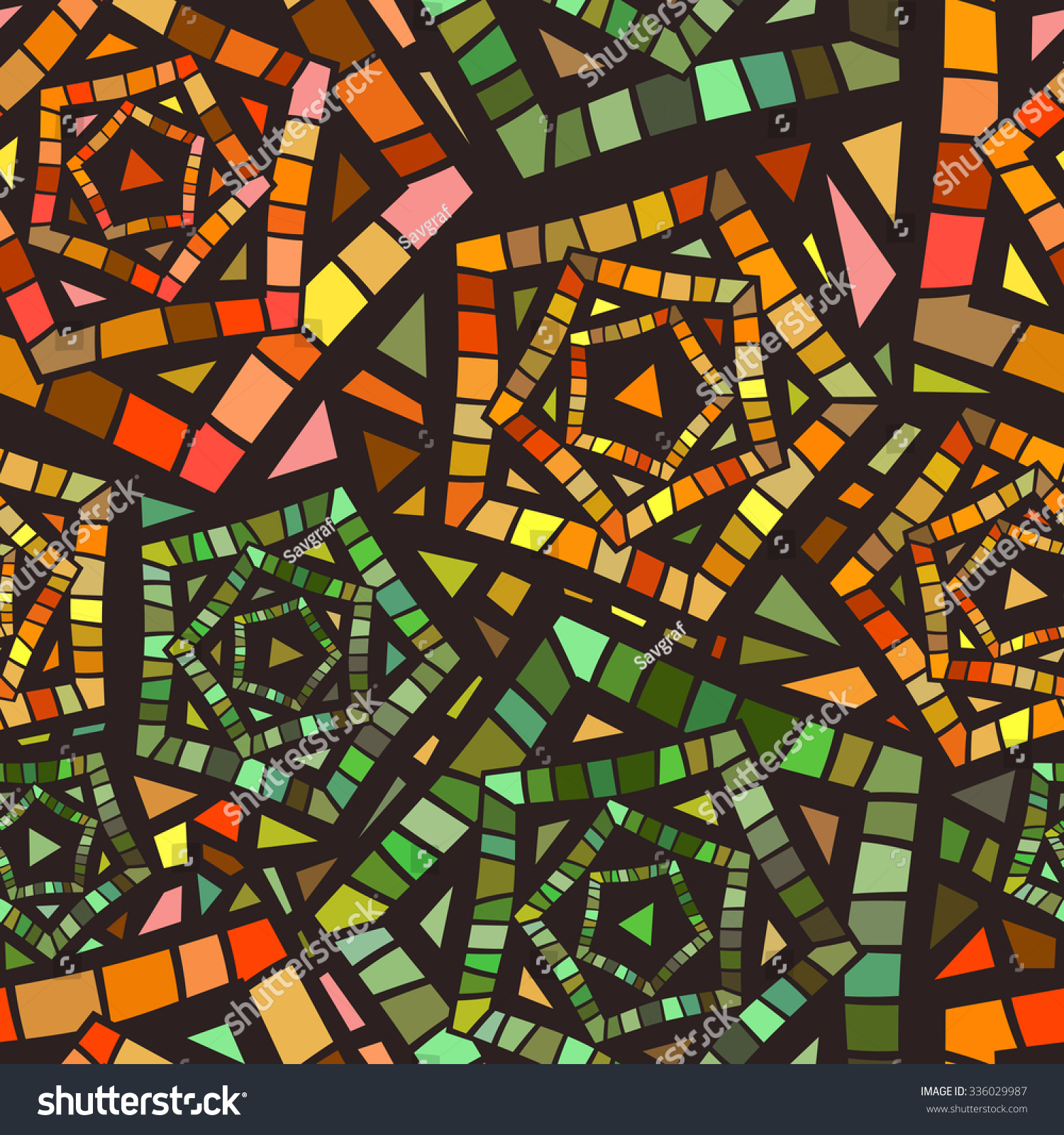 Seamless Mosaic Pattern For Textile Design Colorful Mix