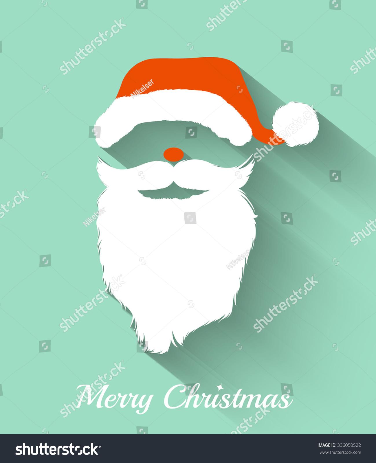 Santa Claus Hat Beard Template Christmas Stock Vector Royalty