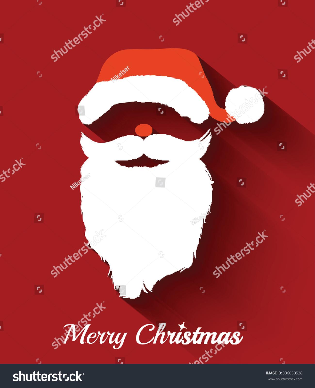 Santa Claus hat and beard template .Christmas Retro Santa Card - in ...