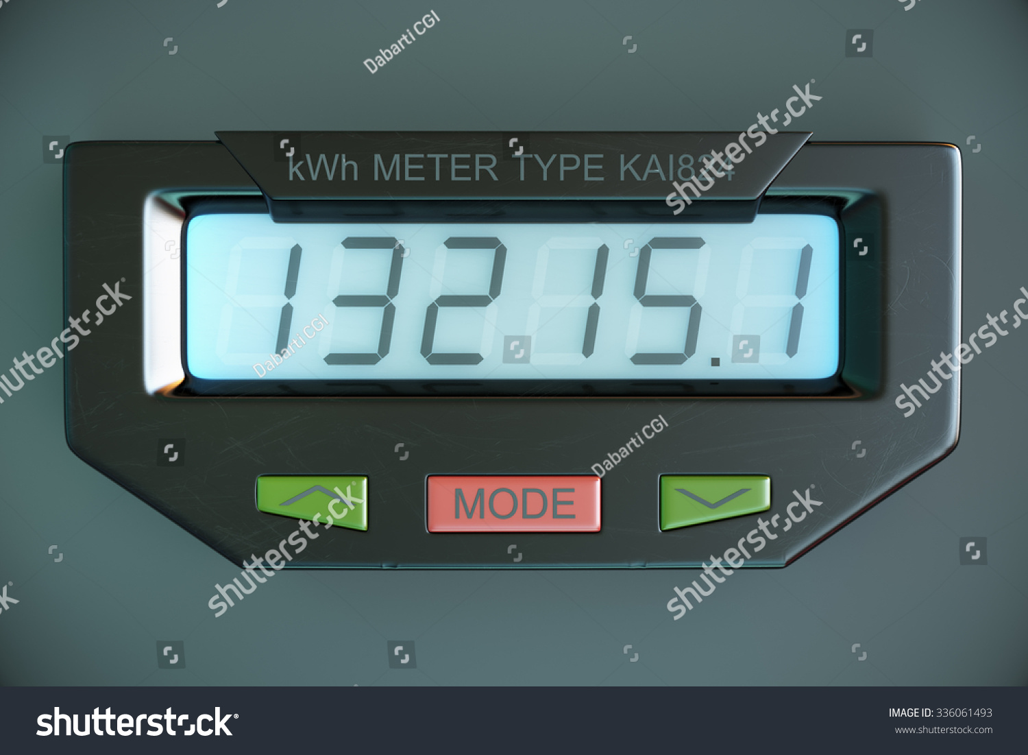 Kilowatt Usage Meter : Digital electricity meter showing household consumption in