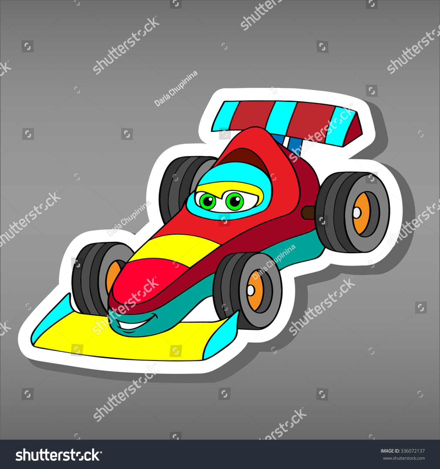 Car design sticker rally - Cartoon Sport Car Sticker For Boys Vector Illustration For Scrapbook Transportation Doodle Background