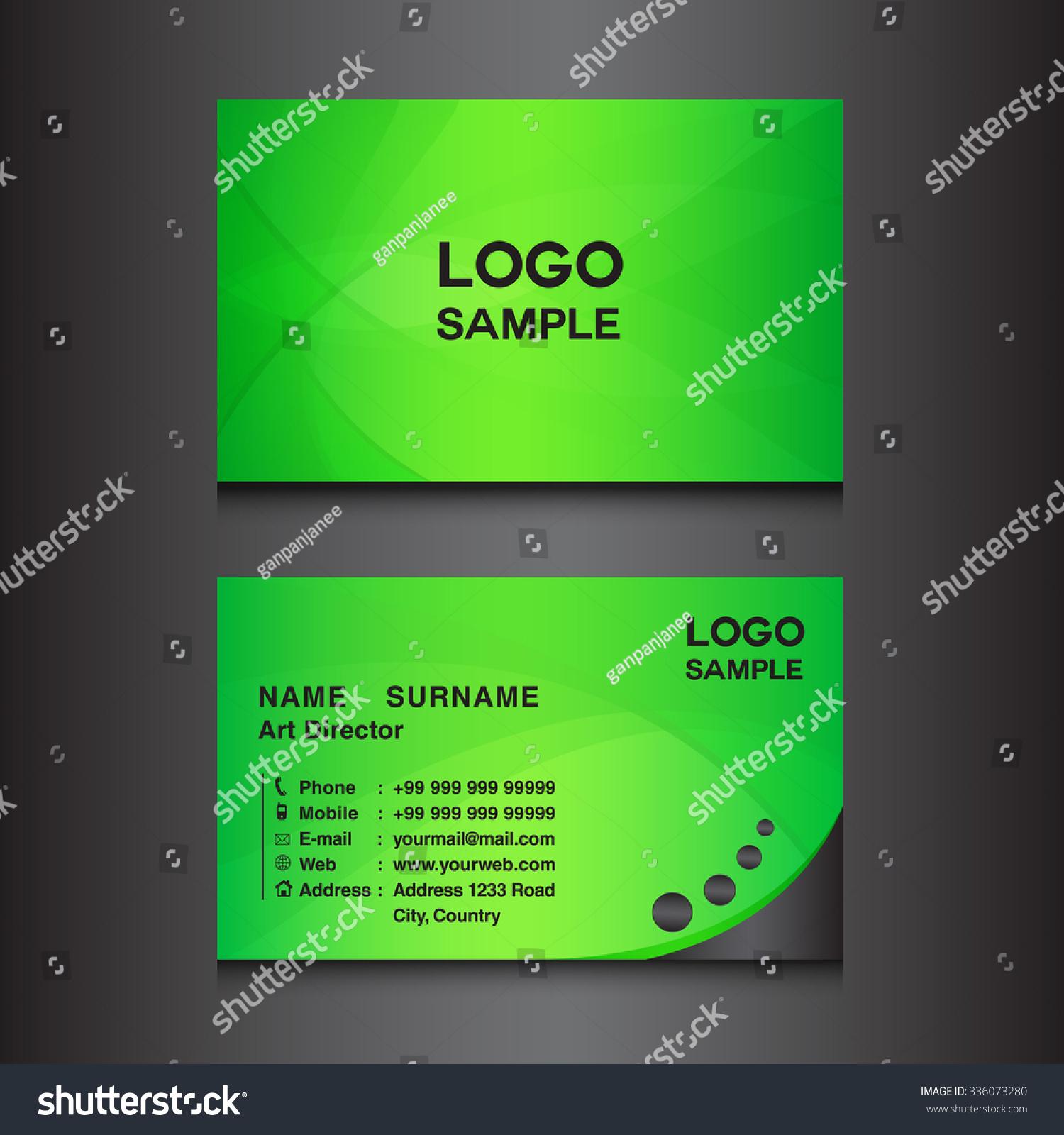 Green Business Card Design Template Vector Stock Vector 336073280 ...